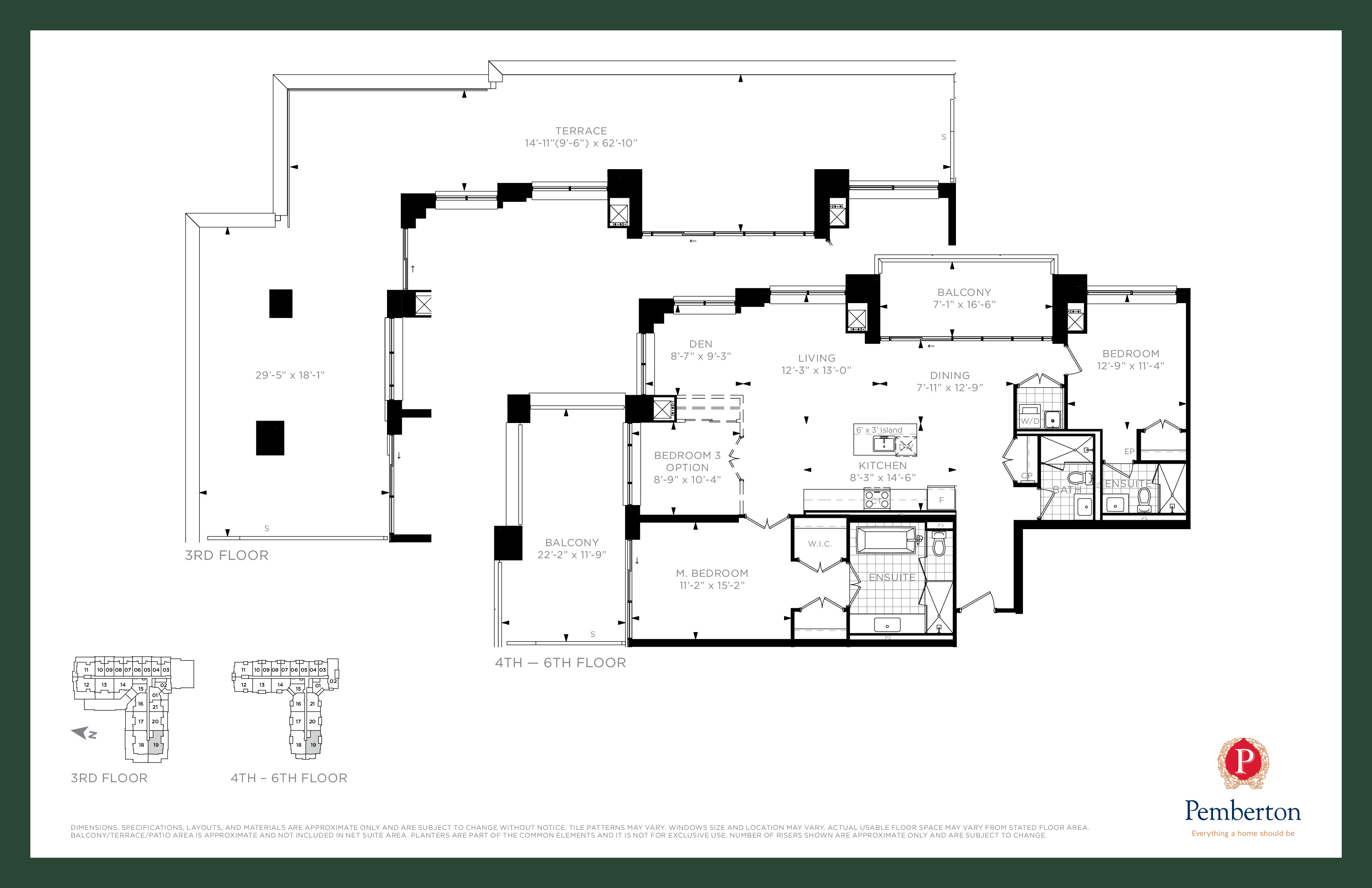 Suite P - Building A Floor Plan at 9th & Main Condos + Towns - 1555 sq.ft