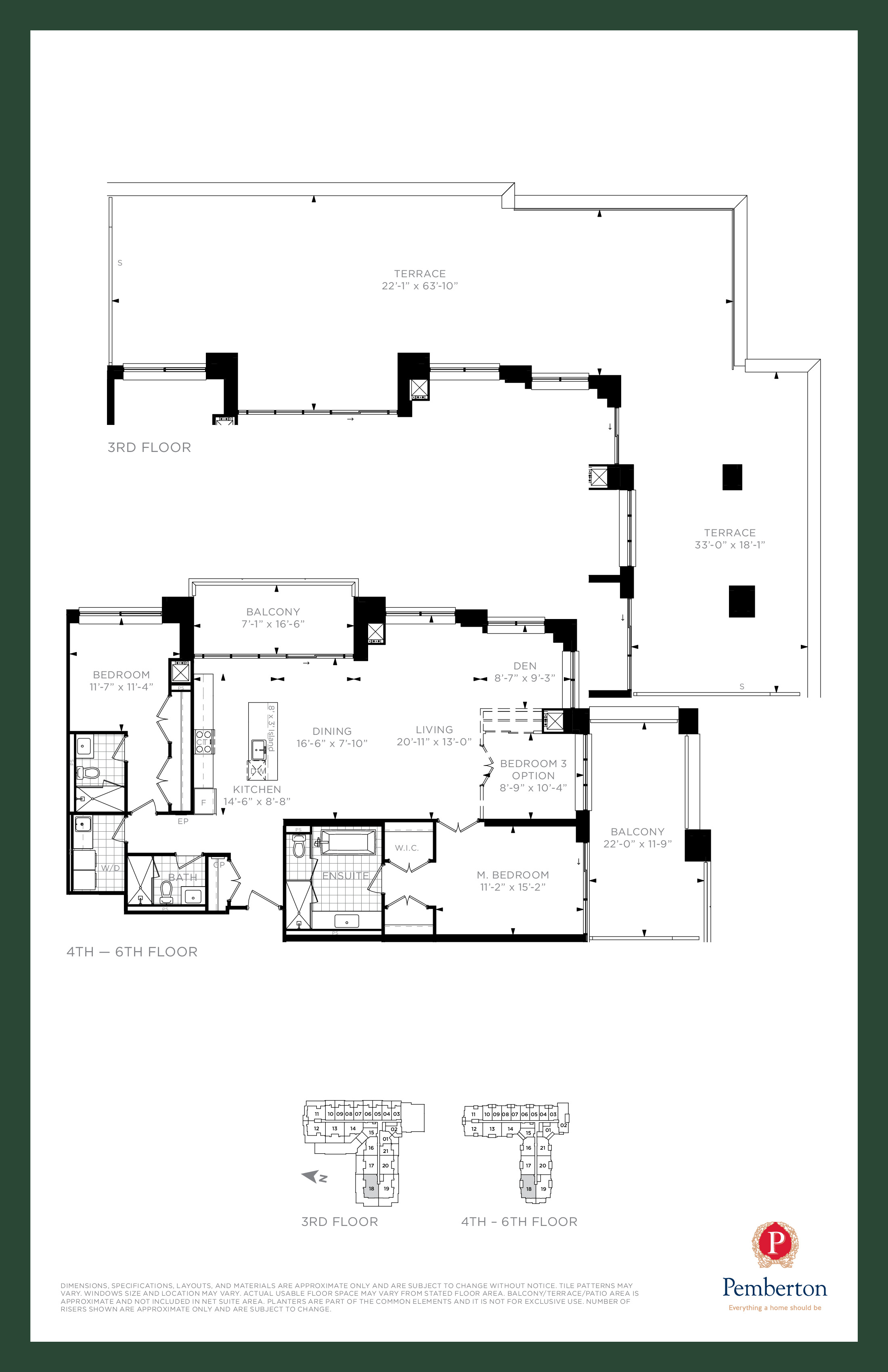 Suite Q - Building A Floor Plan at 9th & Main Condos + Towns - 1680 sq.ft