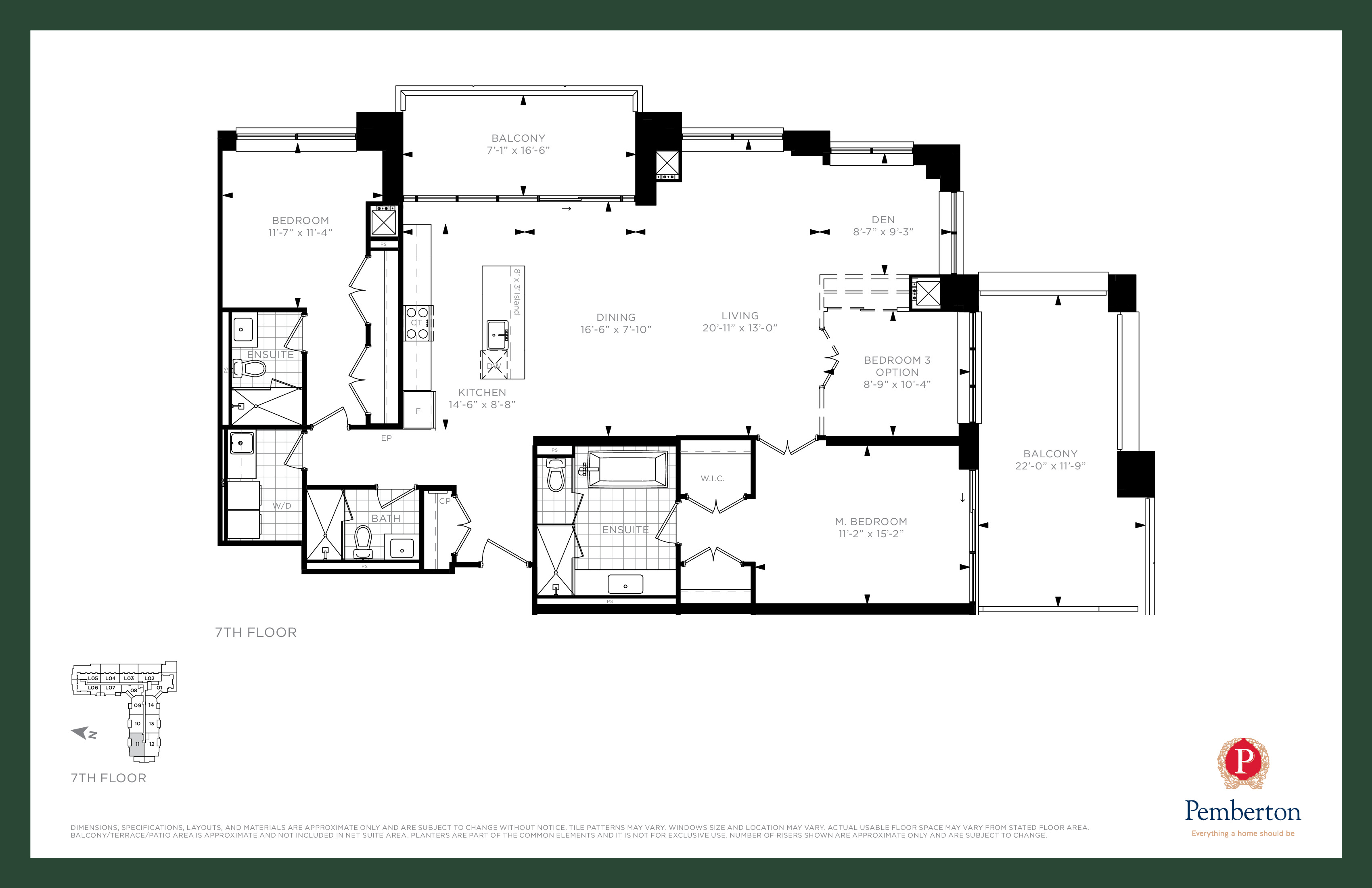 Suite Q1 - Building A Floor Plan at 9th & Main Condos + Towns - 1690 sq.ft