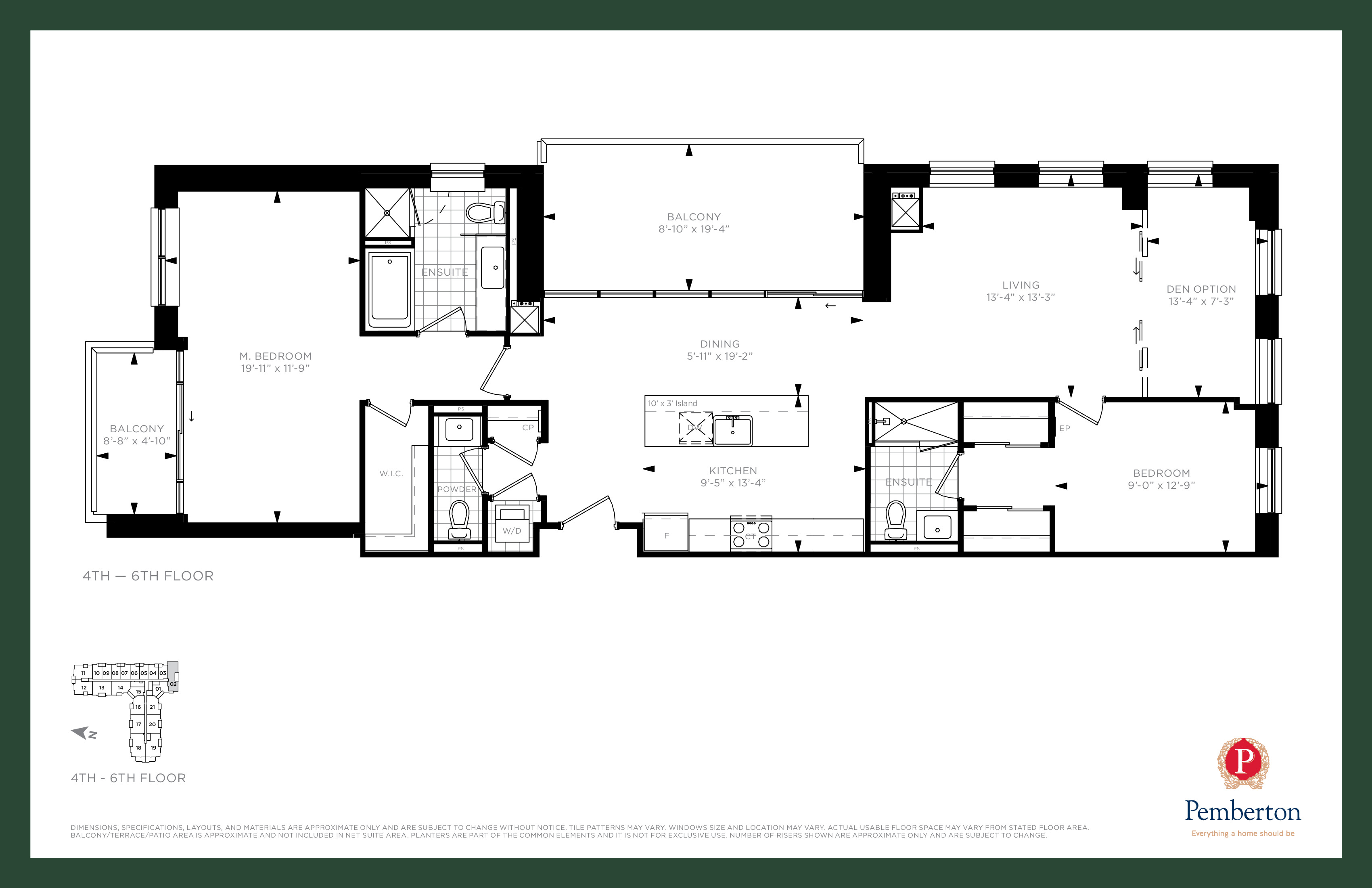 Suite R - Building A Floor Plan at 9th & Main Condos + Towns - 1425 sq.ft