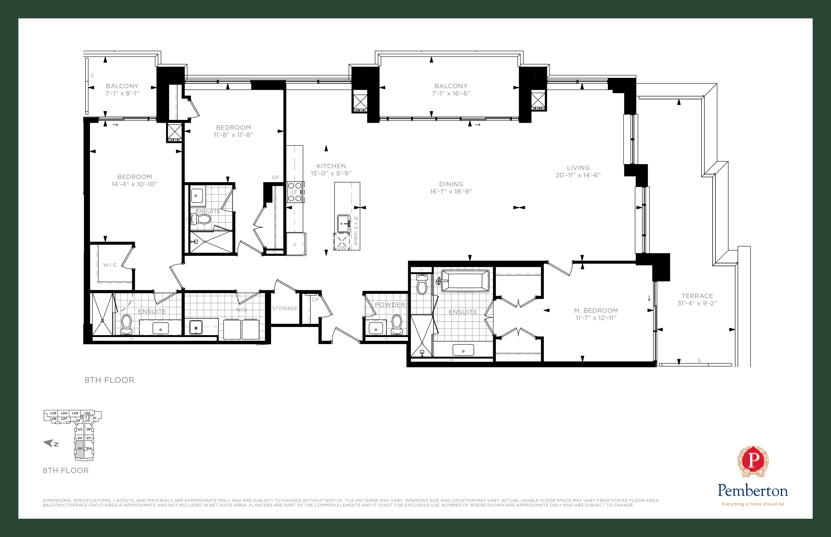 Suite T - Building A Floor Plan at 9th & Main Condos + Towns - 2065 sq.ft