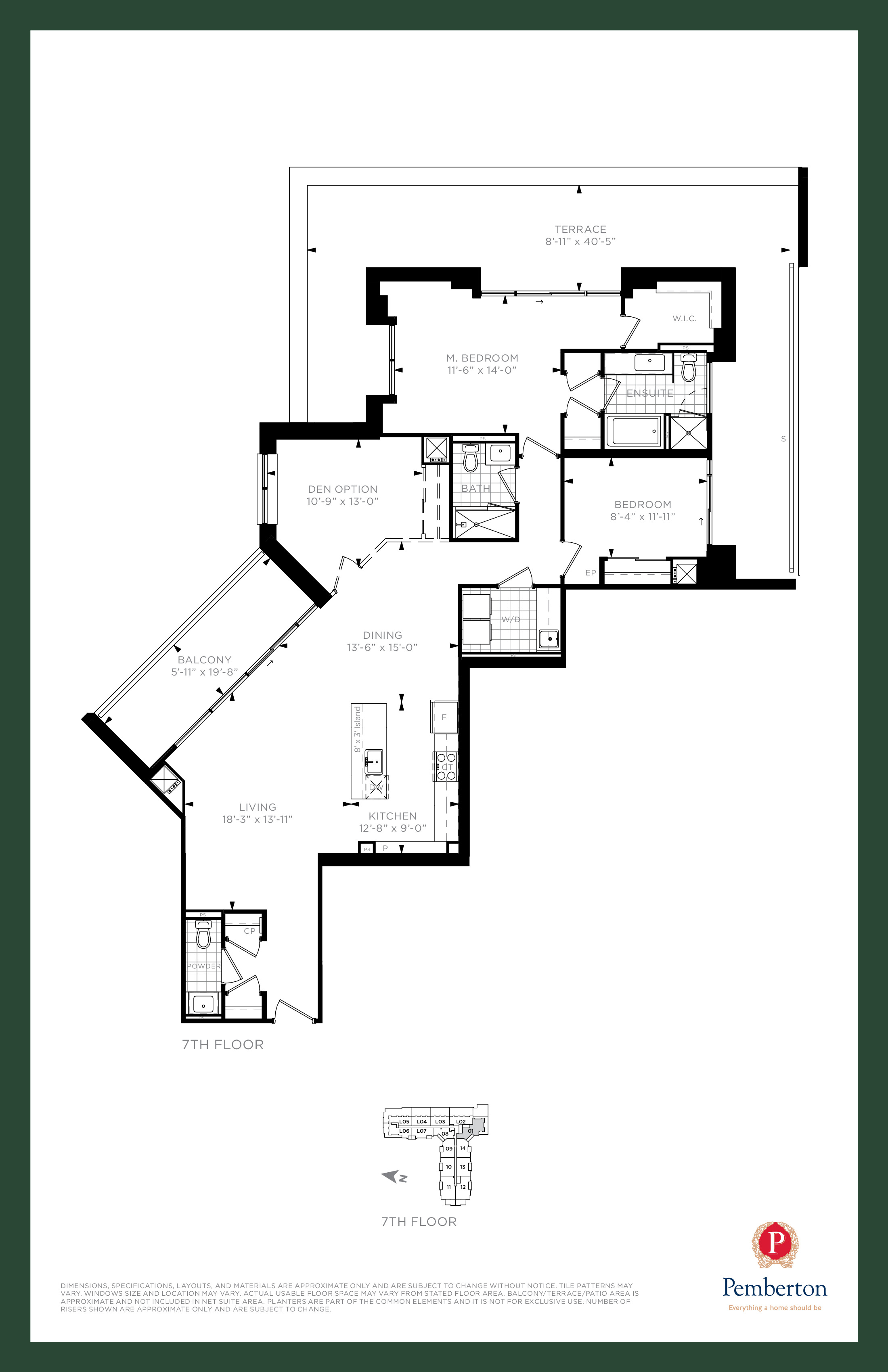 Suite U - Building A Floor Plan at 9th & Main Condos + Towns - 1630 sq.ft