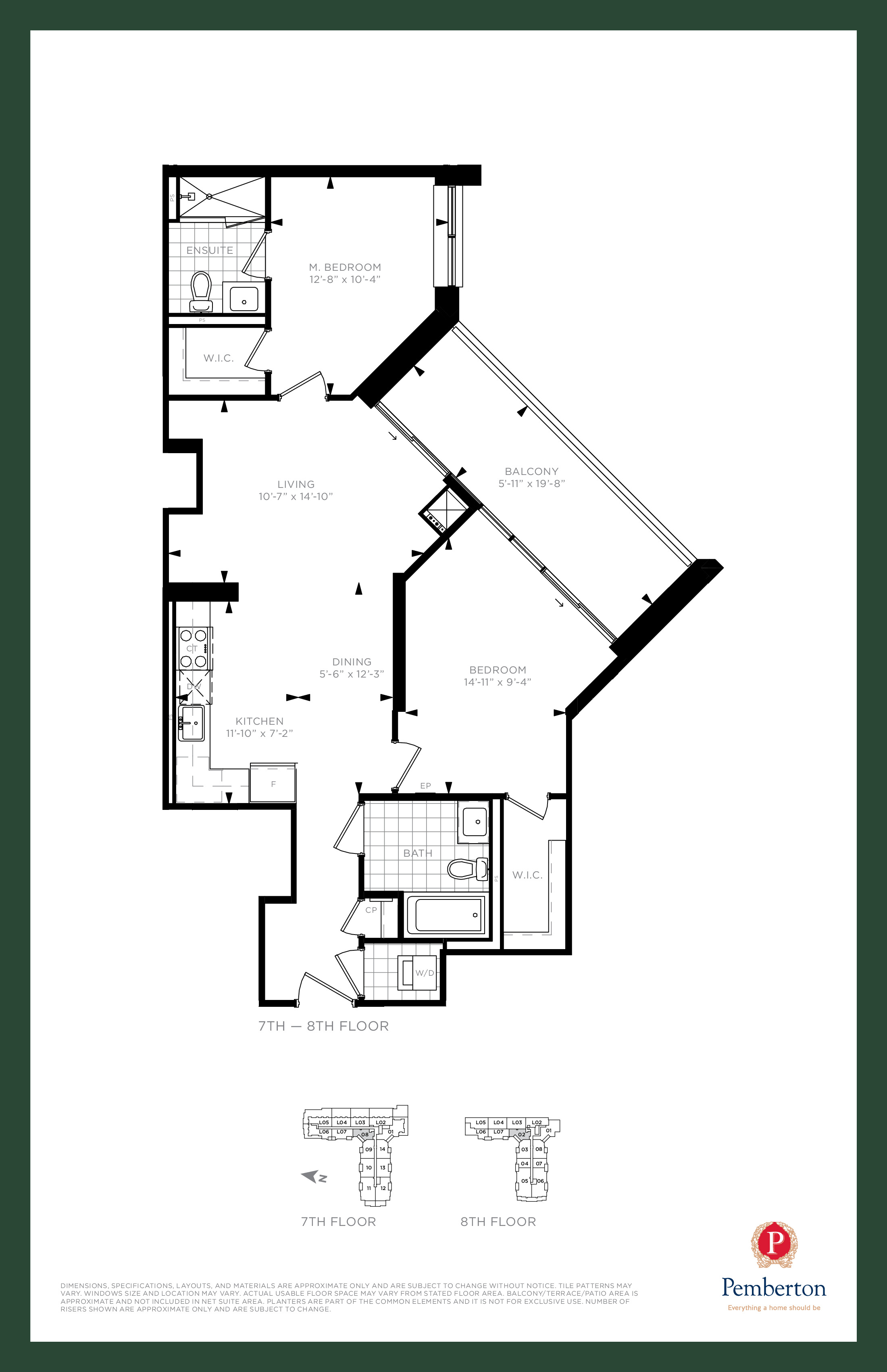 Suite W - Building A Floor Plan at 9th & Main Condos + Towns - 930 sq.ft