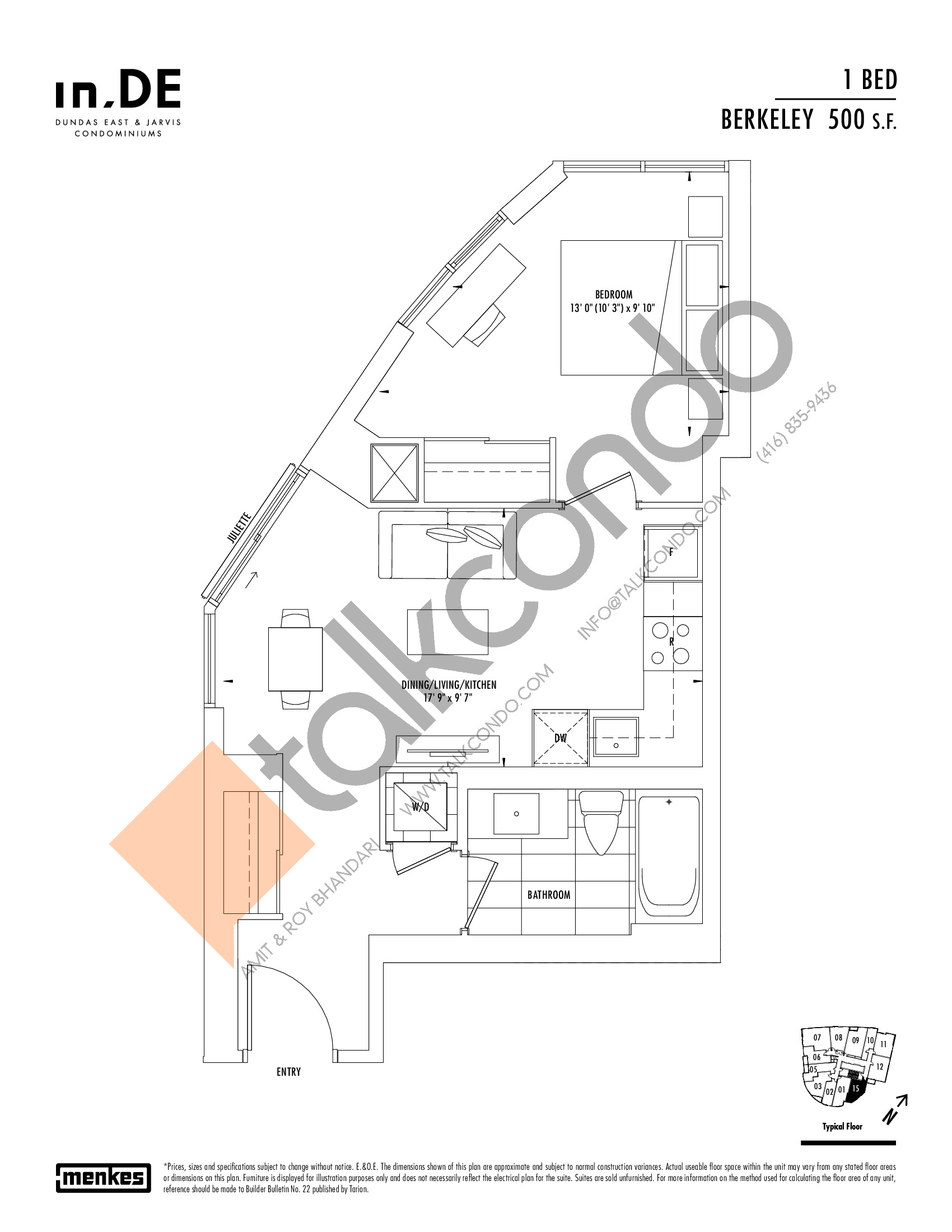 Berkeley Floor Plan at in.DE Condos - 500 sq.ft