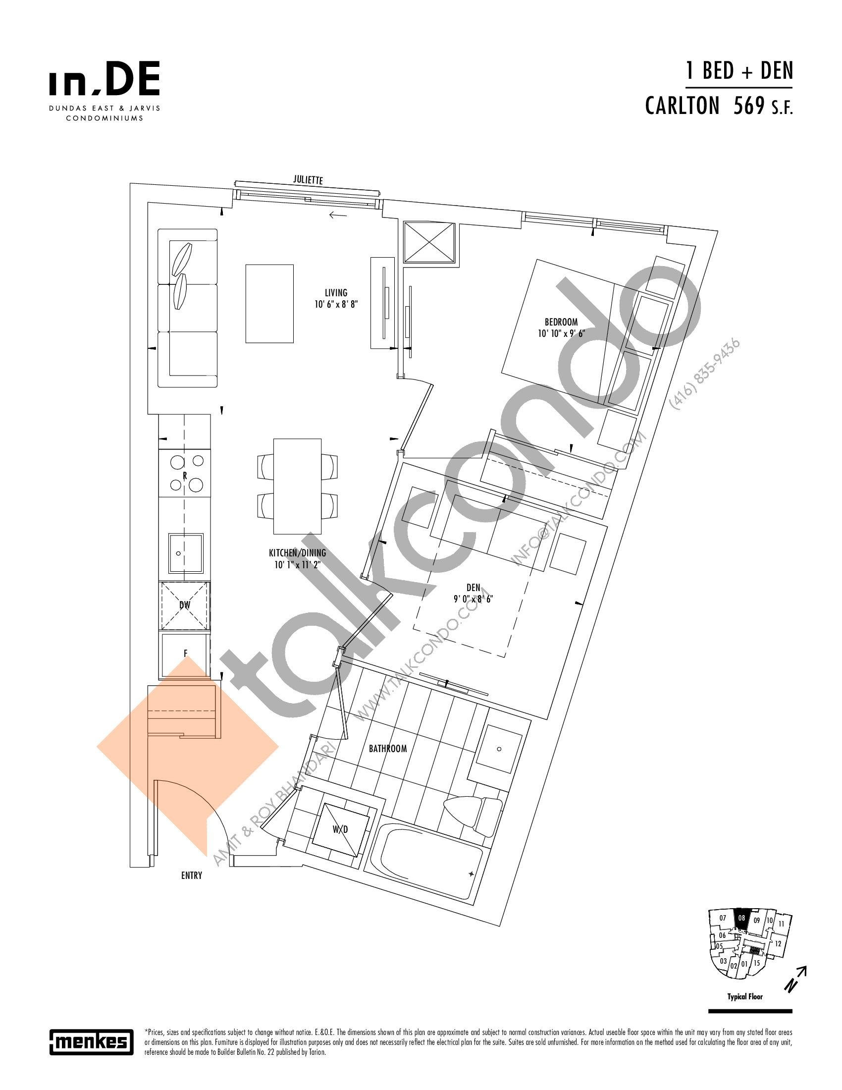 Carlton Floor Plan at in.DE Condos - 569 sq.ft