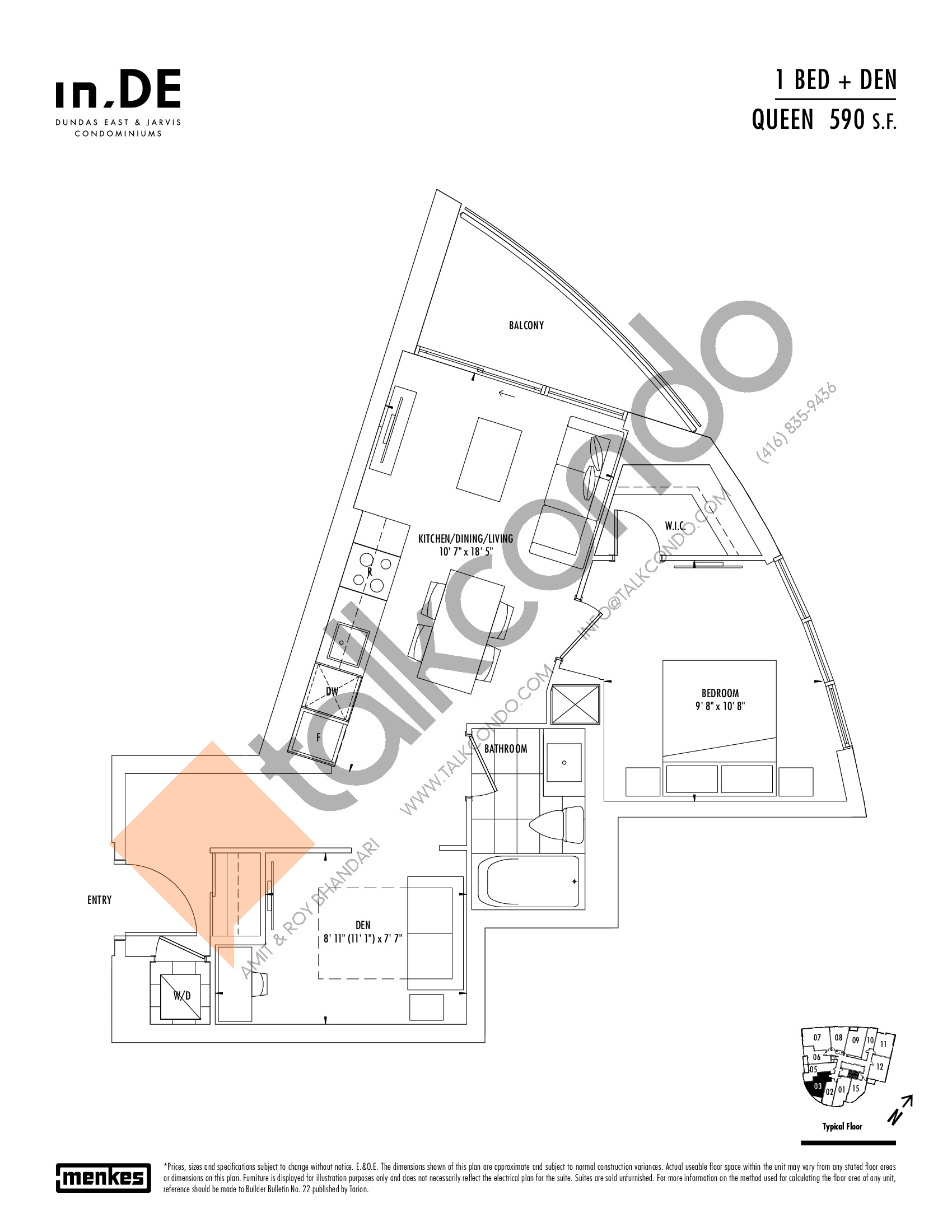 Queen Floor Plan at in.DE Condos - 590 sq.ft