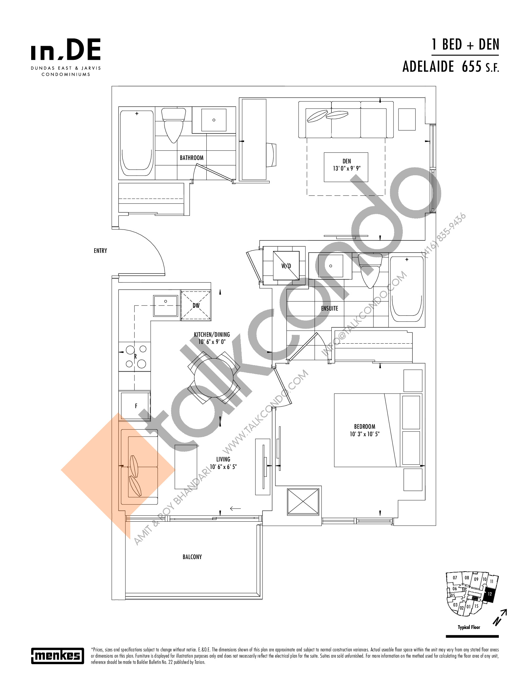 Adelaide Floor Plan at in.DE Condos - 655 sq.ft