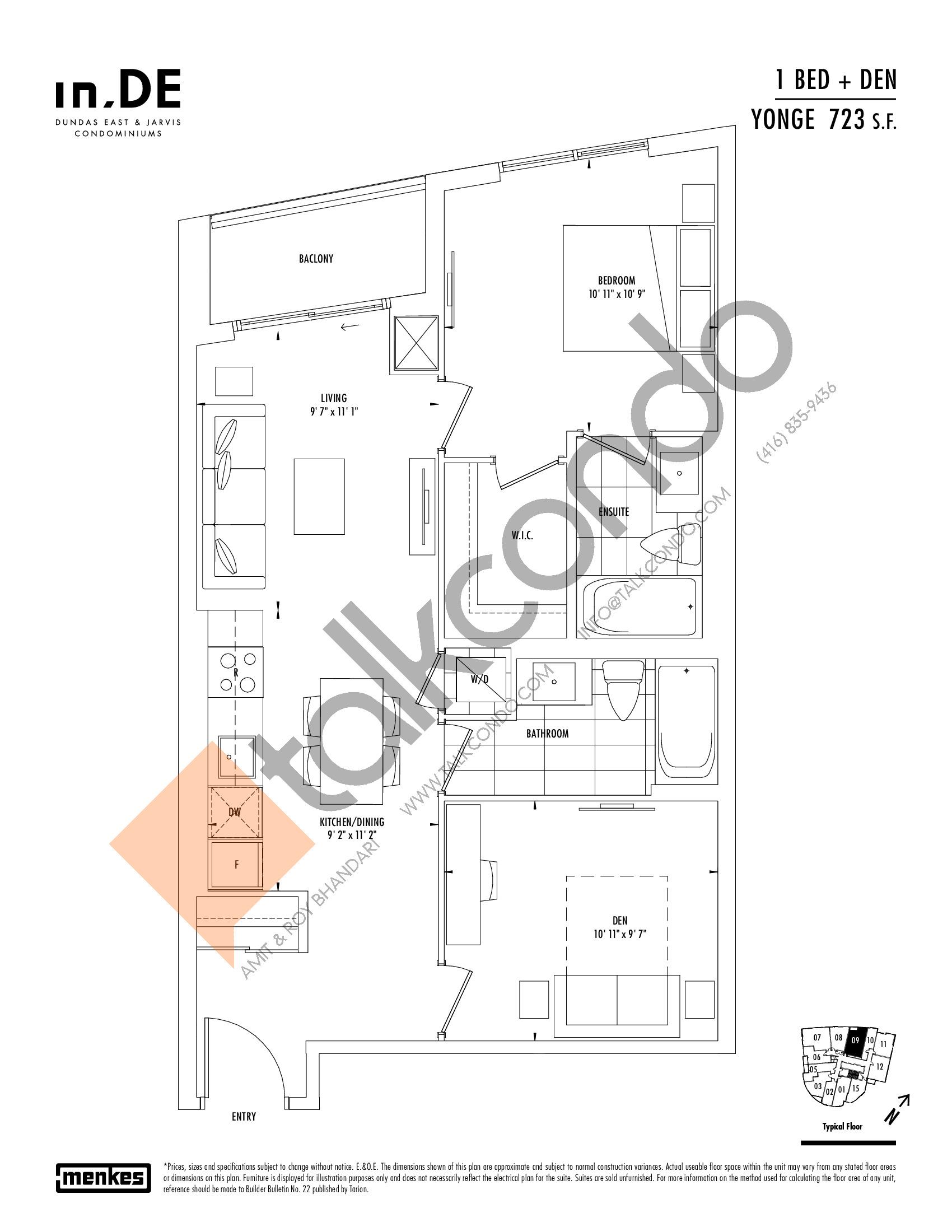 Yonge Floor Plan at in.DE Condos - 723 sq.ft