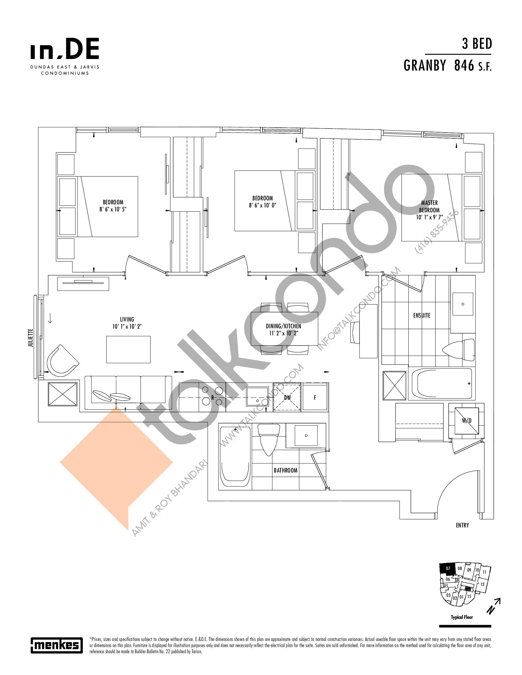 Granby Floor Plan at in.DE Condos - 846 sq.ft
