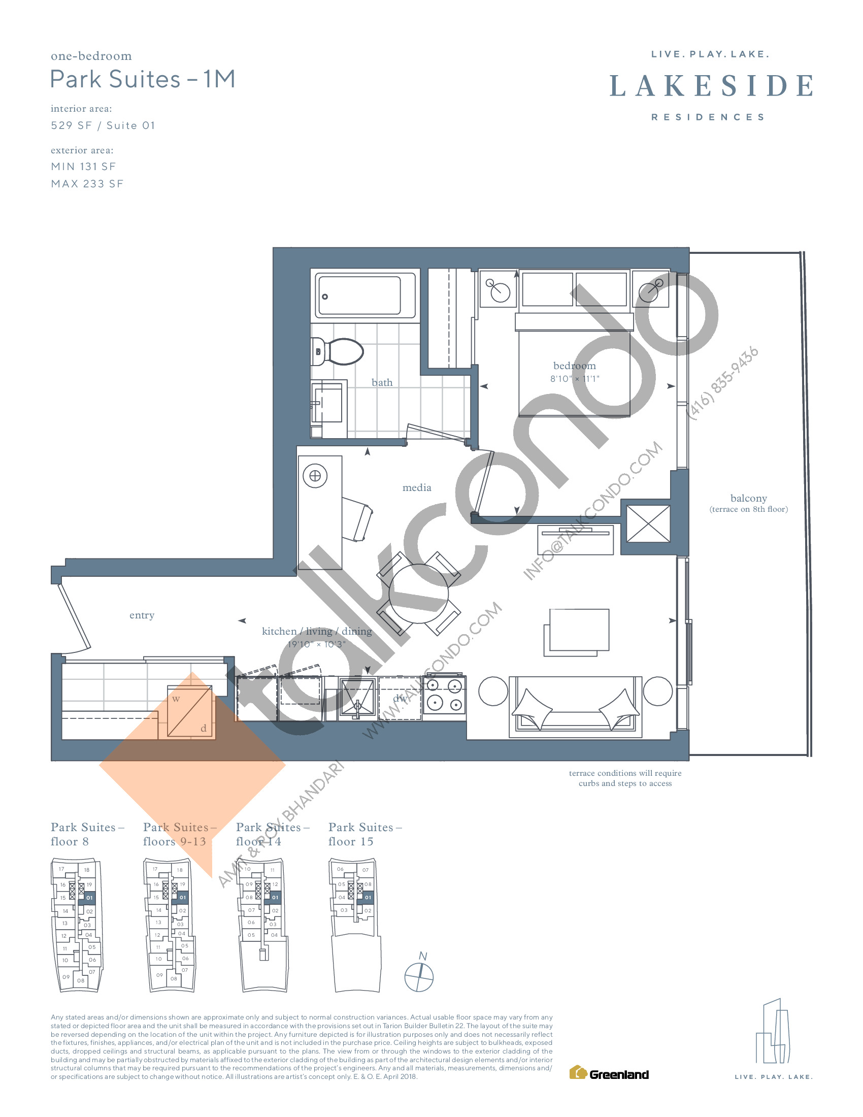 Park Suites - 1M Floor Plan at Lakeside Residences - 529 sq.ft