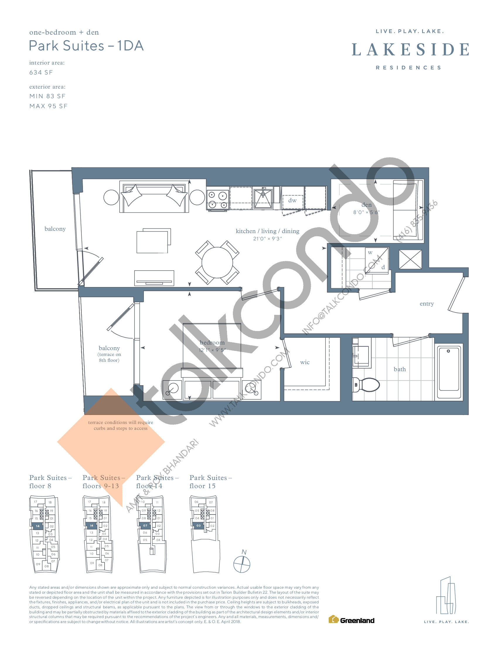 Park Suites - 1DA Floor Plan at Lakeside Residences - 634 sq.ft