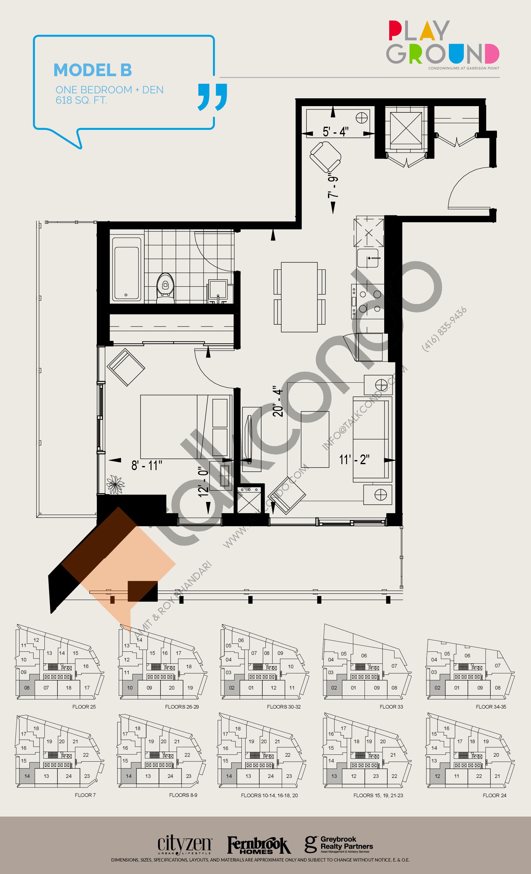 Model B Floor Plan at Playground Condos at Garrison Point - 618 sq.ft