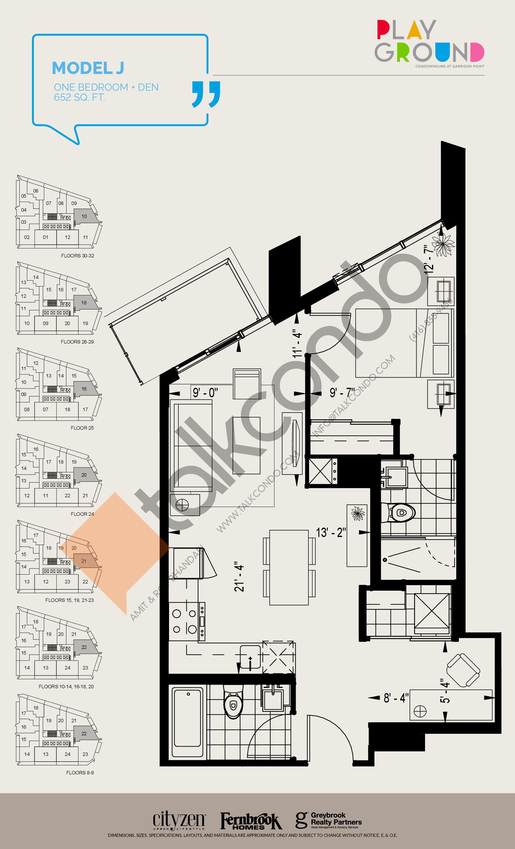 Model J Floor Plan at Playground Condos at Garrison Point - 652 sq.ft