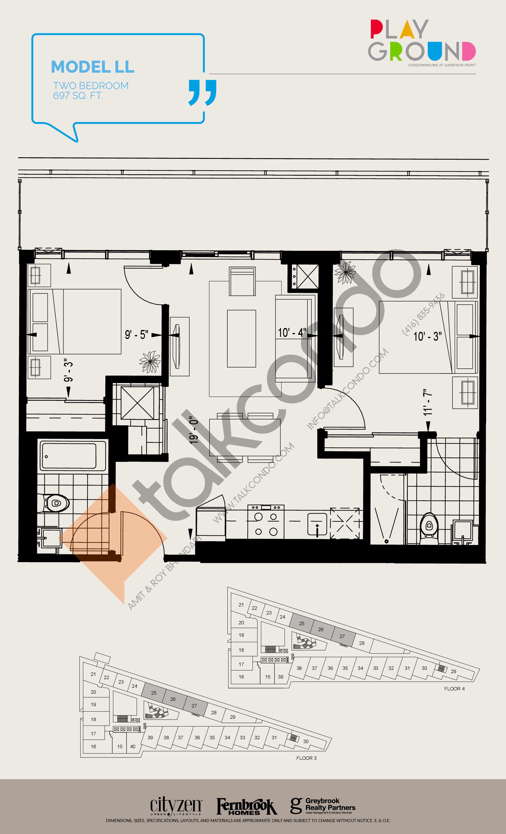 Model LL Floor Plan at Playground Condos at Garrison Point - 697 sq.ft