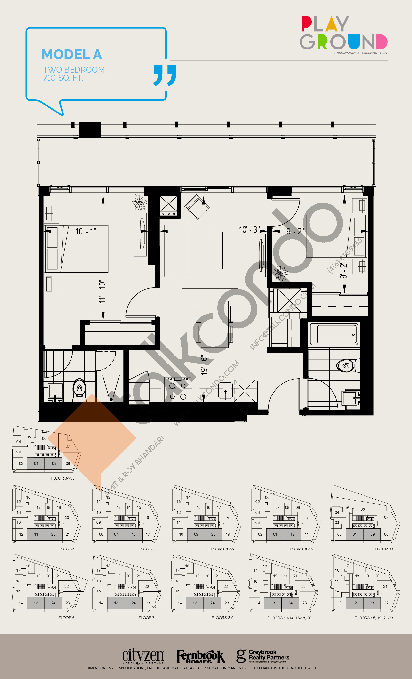 Model A Floor Plan at Playground Condos at Garrison Point - 710 sq.ft