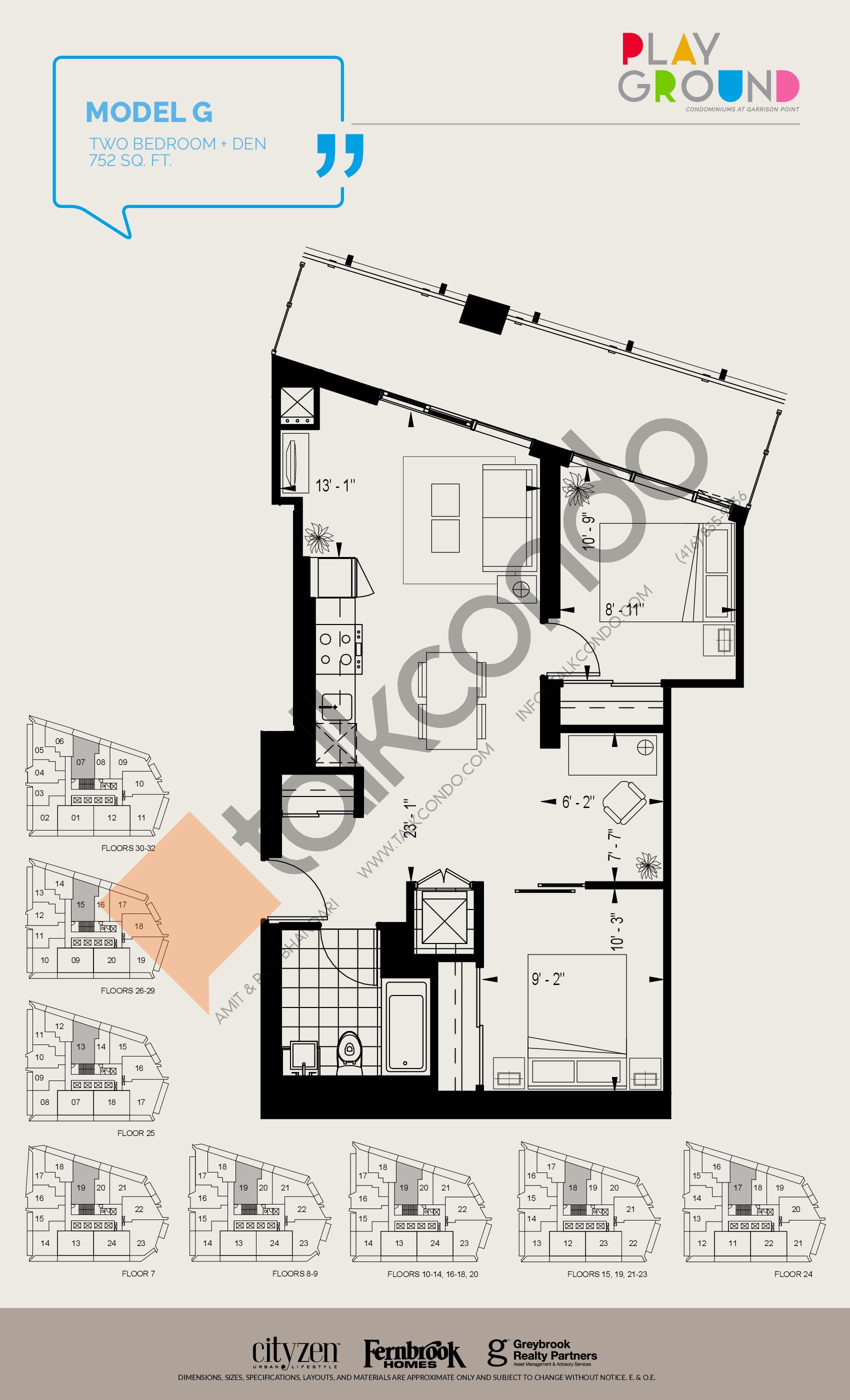 Model G Floor Plan at Playground Condos at Garrison Point - 752 sq.ft