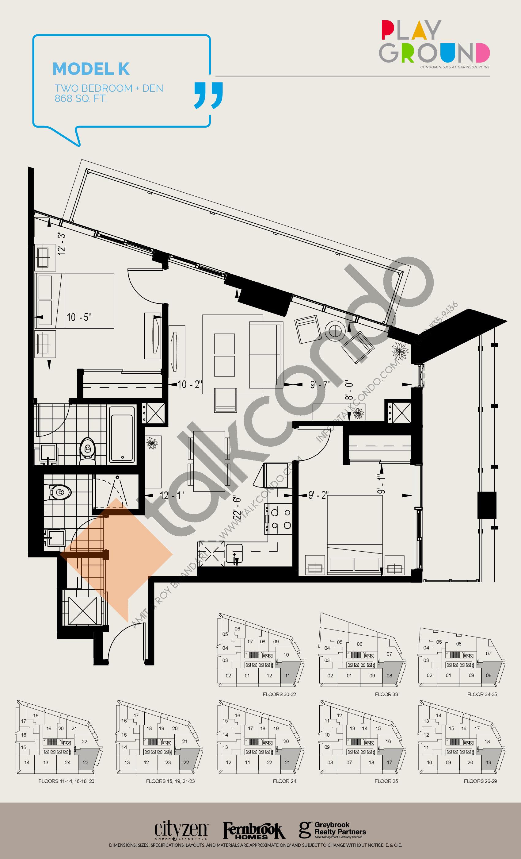 Model K Floor Plan at Playground Condos at Garrison Point - 868 sq.ft