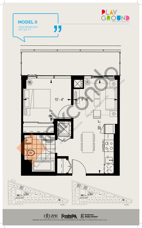 Model II Floor Plan at Playground Condos at Garrison Point - 457 sq.ft