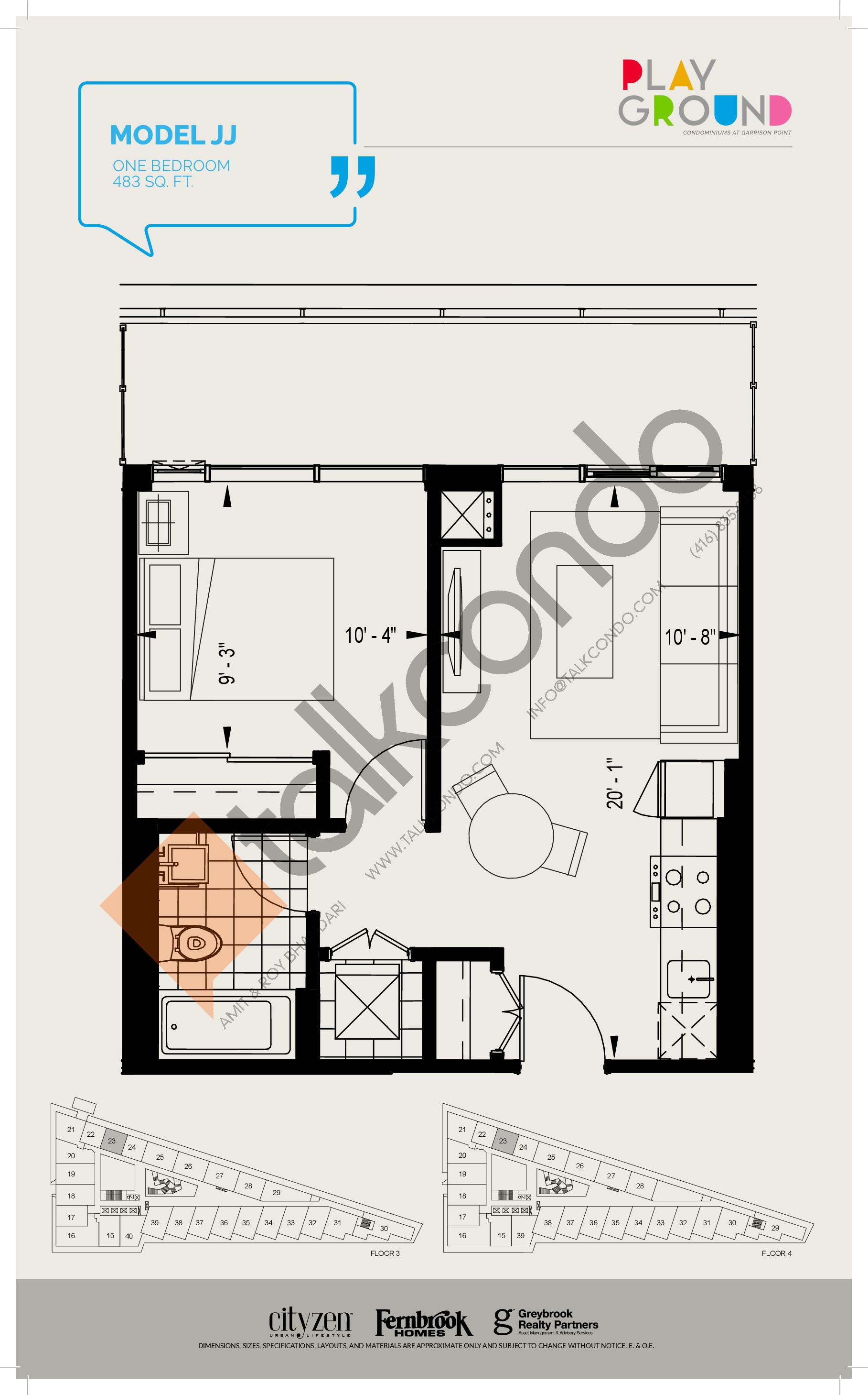 Model JJ Floor Plan at Playground Condos at Garrison Point - 483 sq.ft