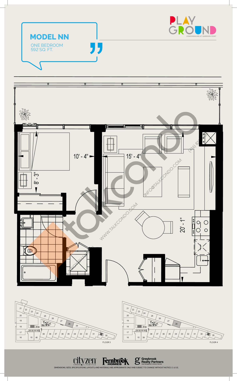 Model NN Floor Plan at Playground Condos at Garrison Point - 592 sq.ft