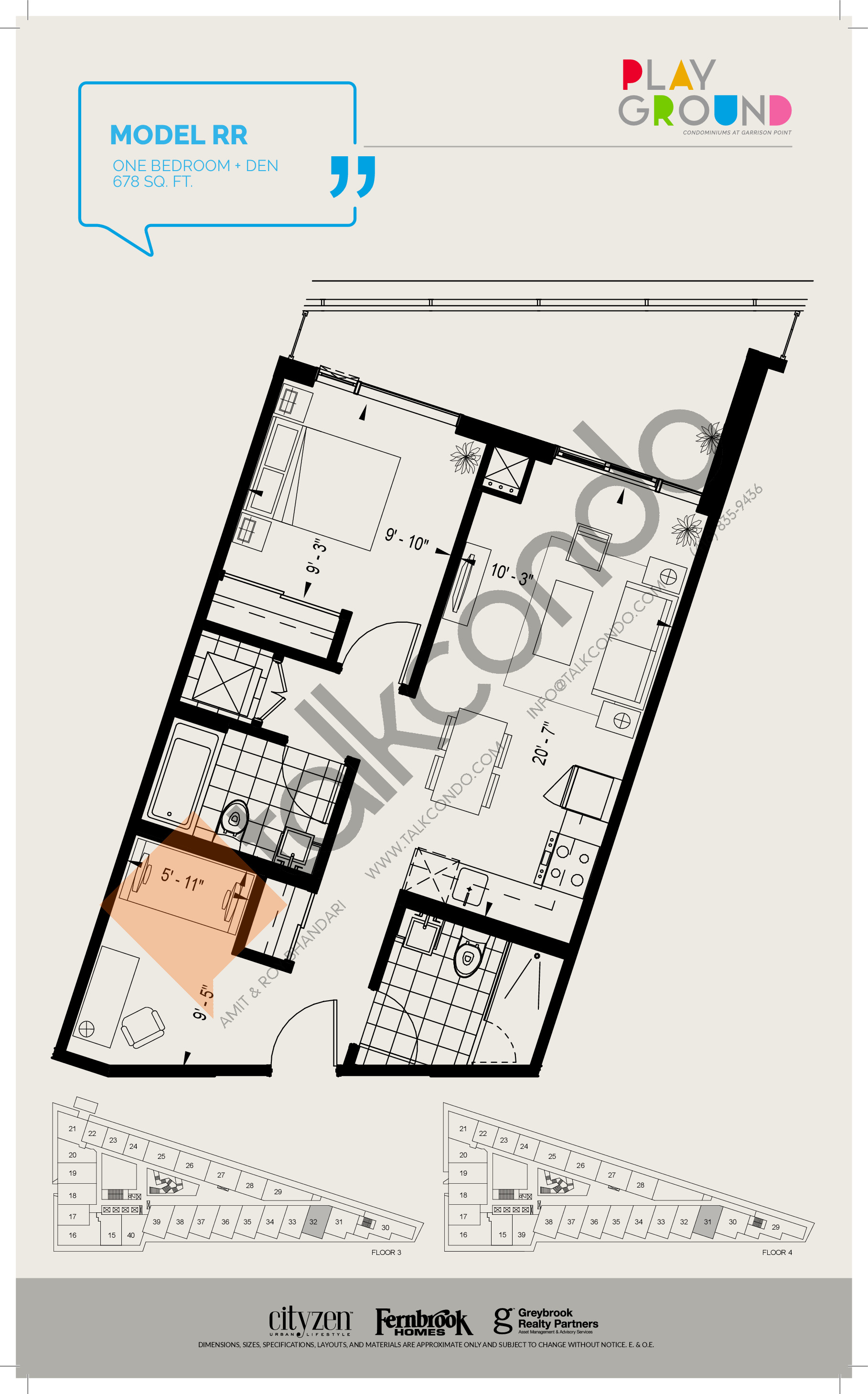 Model RR Floor Plan at Playground Condos at Garrison Point - 678 sq.ft