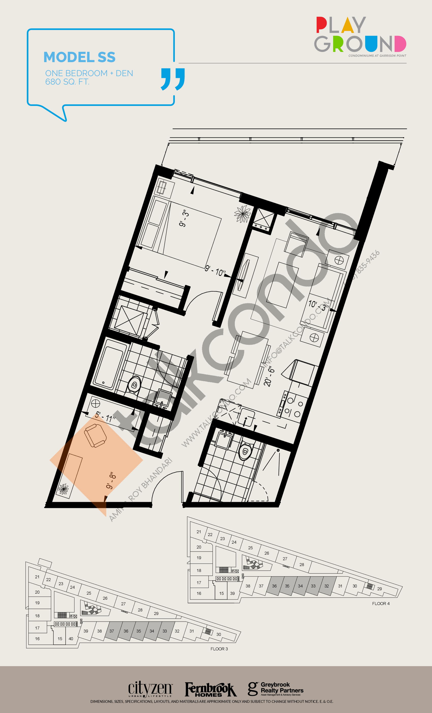 Model SS Floor Plan at Playground Condos at Garrison Point - 680 sq.ft