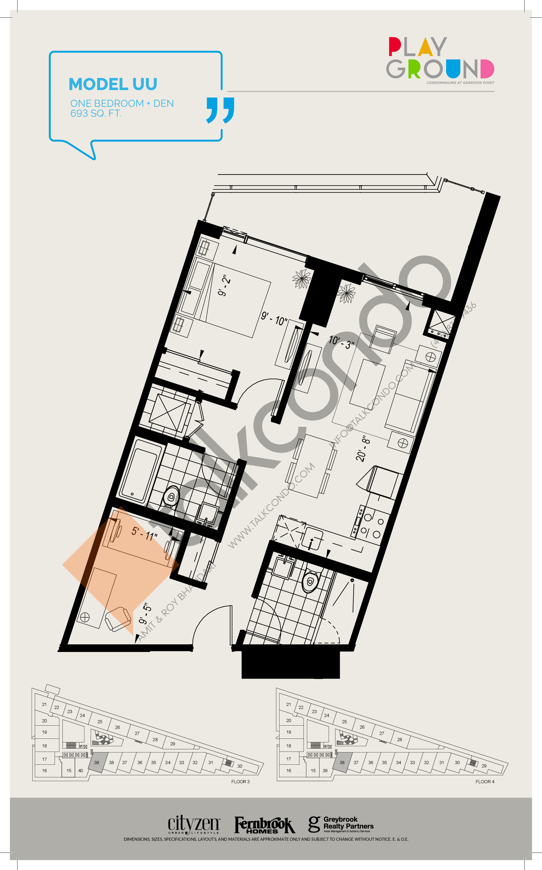 Model UU Floor Plan at Playground Condos at Garrison Point - 693 sq.ft
