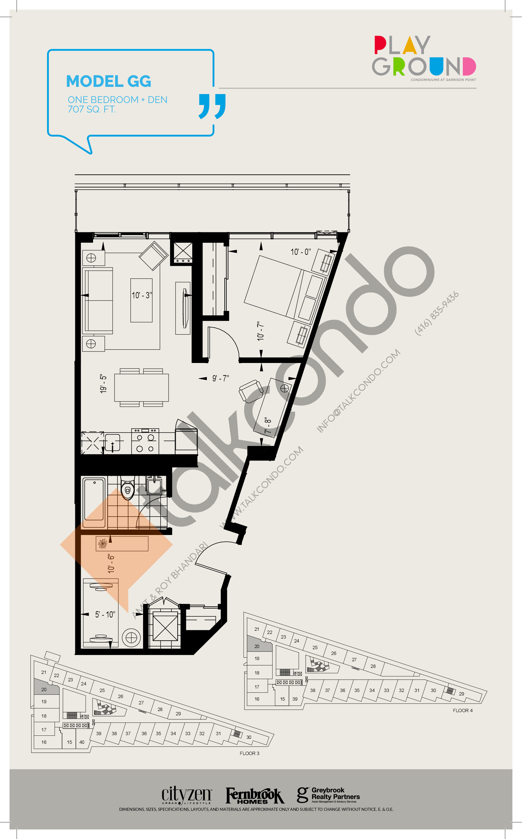 Model GG Floor Plan at Playground Condos at Garrison Point - 707 sq.ft