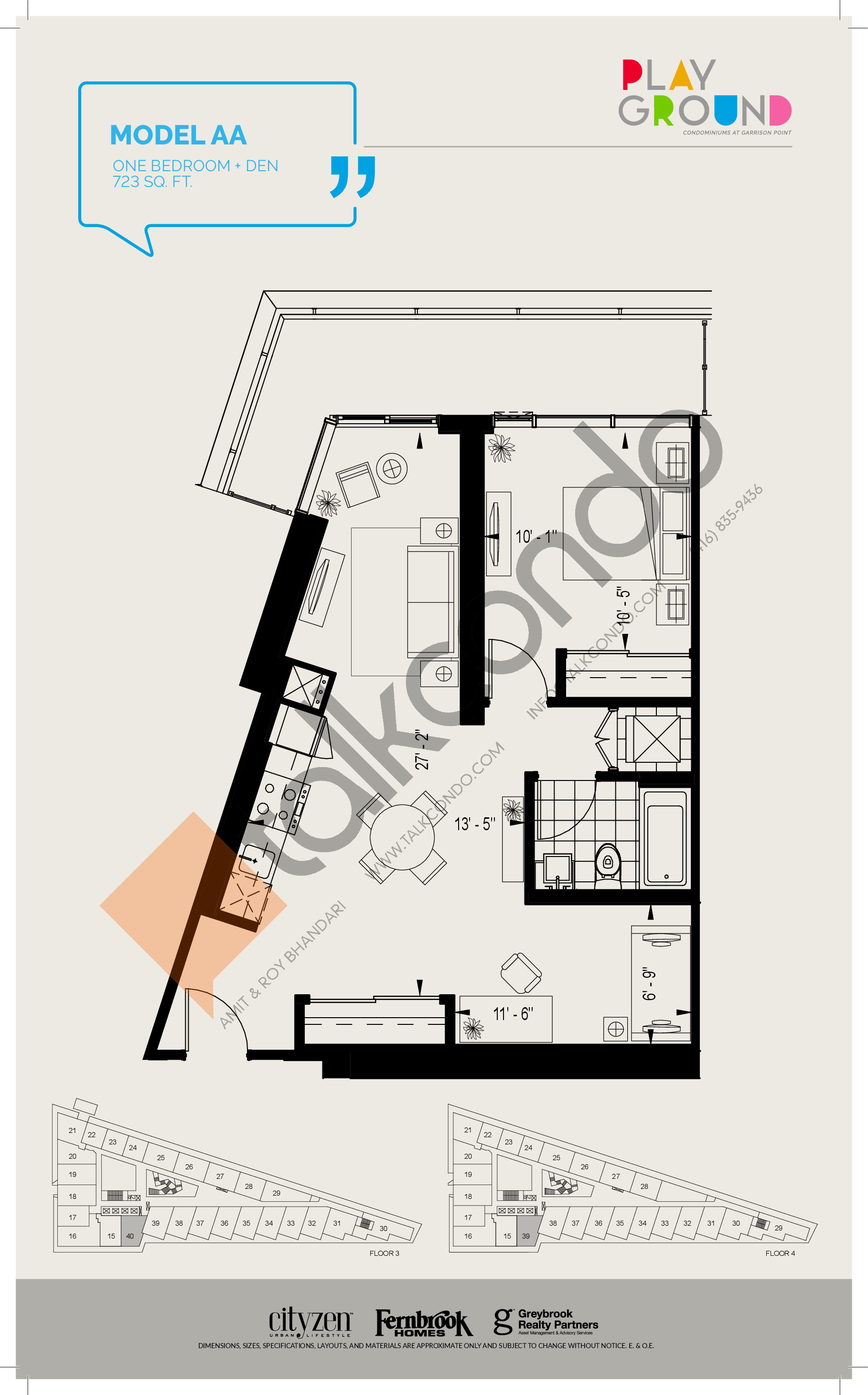 Model AA Floor Plan at Playground Condos at Garrison Point - 723 sq.ft