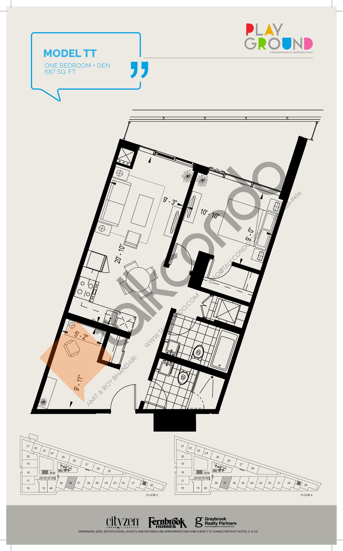 Model TT Floor Plan at Playground Condos at Garrison Point - 687 sq.ft