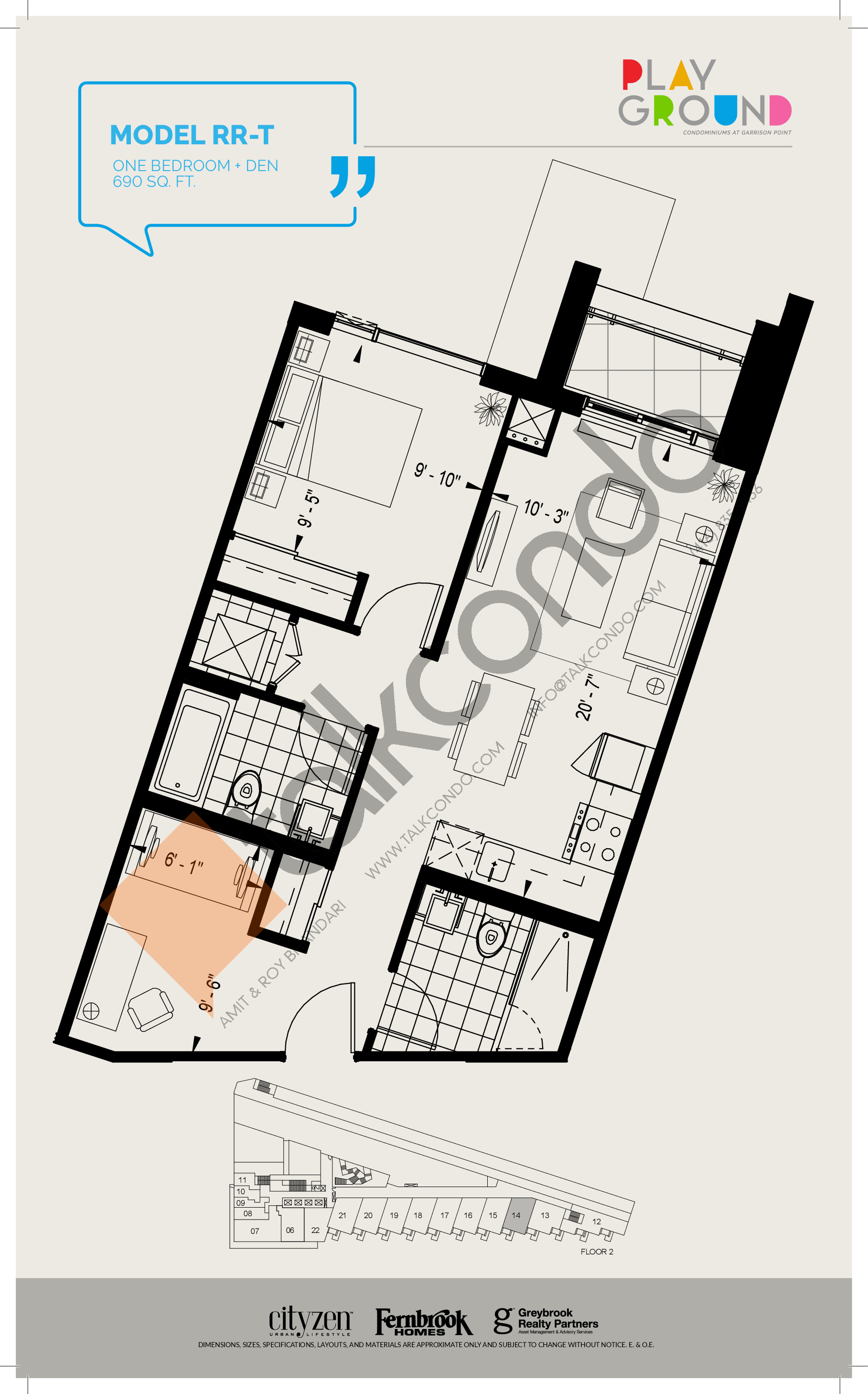 Model RR-T Floor Plan at Playground Condos at Garrison Point - 690 sq.ft
