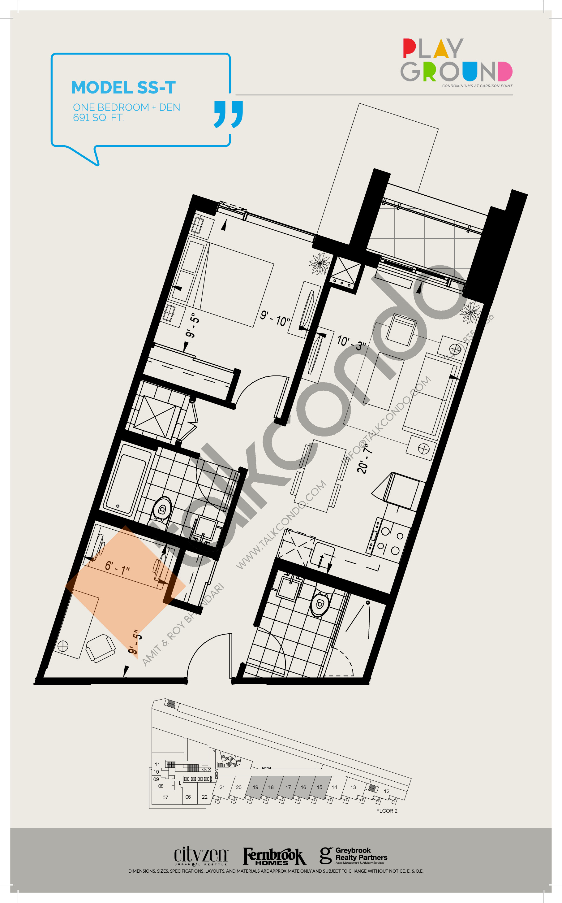 Model SS-T Floor Plan at Playground Condos at Garrison Point - 691 sq.ft