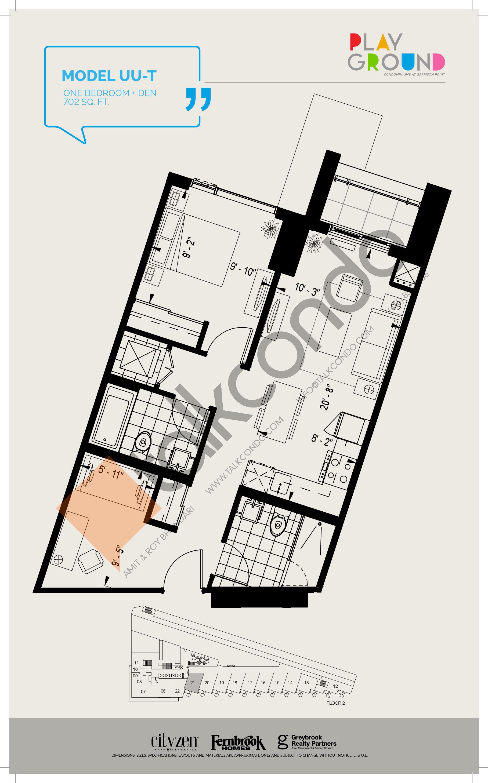 Model UU-T Floor Plan at Playground Condos at Garrison Point - 702 sq.ft