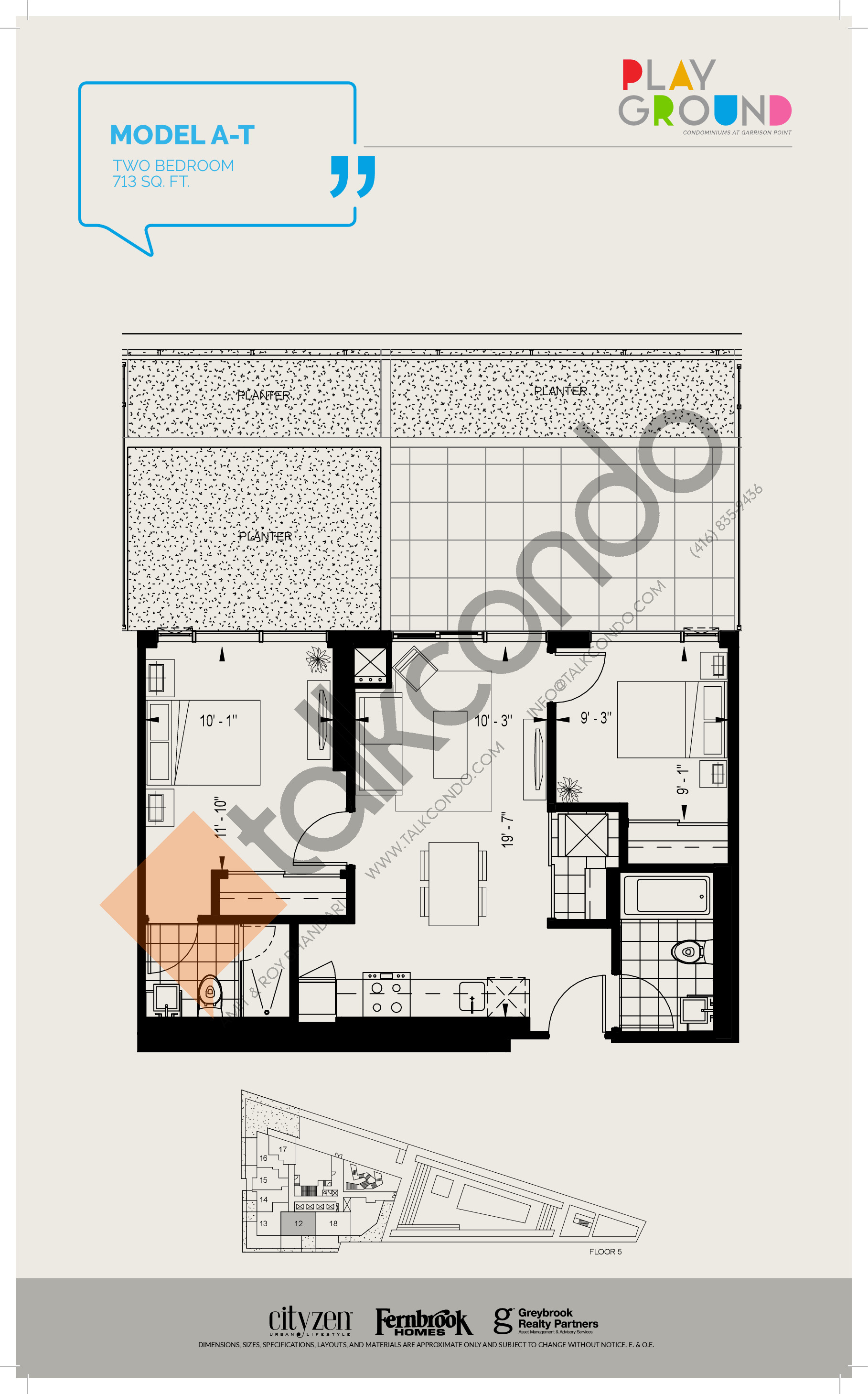 Model A-T Floor Plan at Playground Condos at Garrison Point - 713 sq.ft