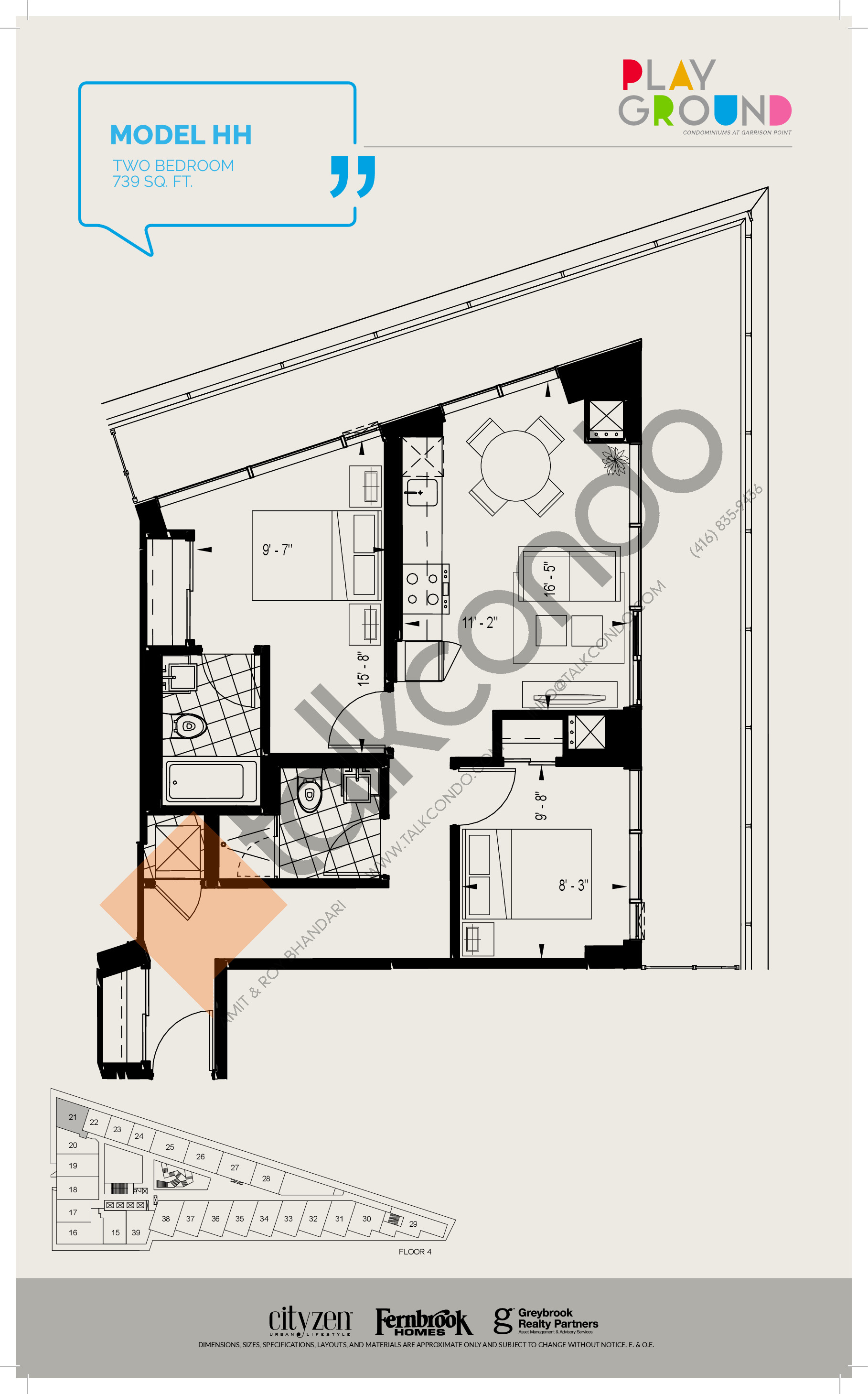Model HH Floor Plan at Playground Condos at Garrison Point - 739 sq.ft