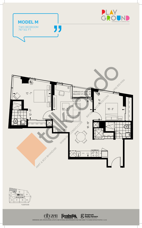Model M Floor Plan at Playground Condos at Garrison Point - 787 sq.ft