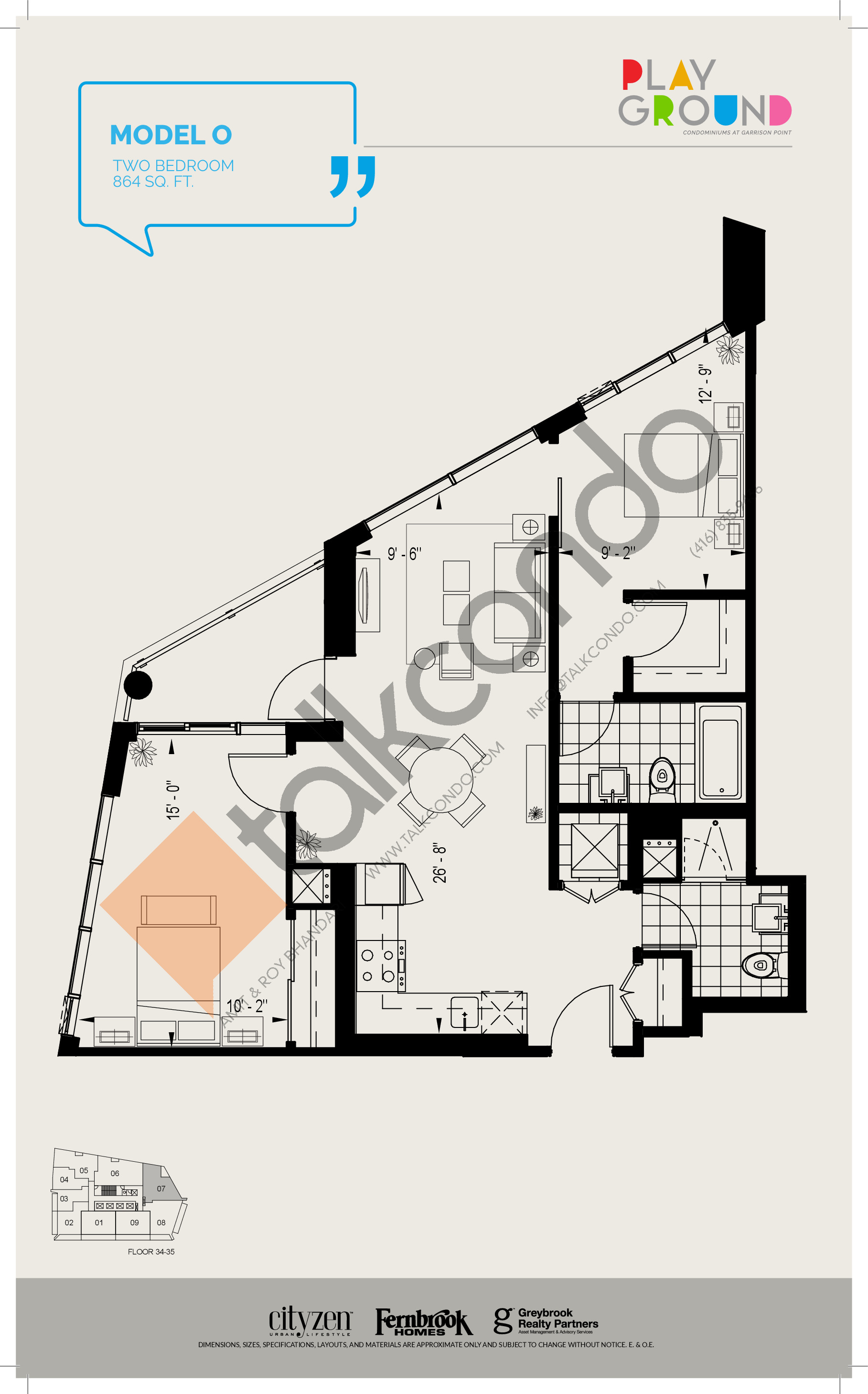 Model O Floor Plan at Playground Condos at Garrison Point - 864 sq.ft