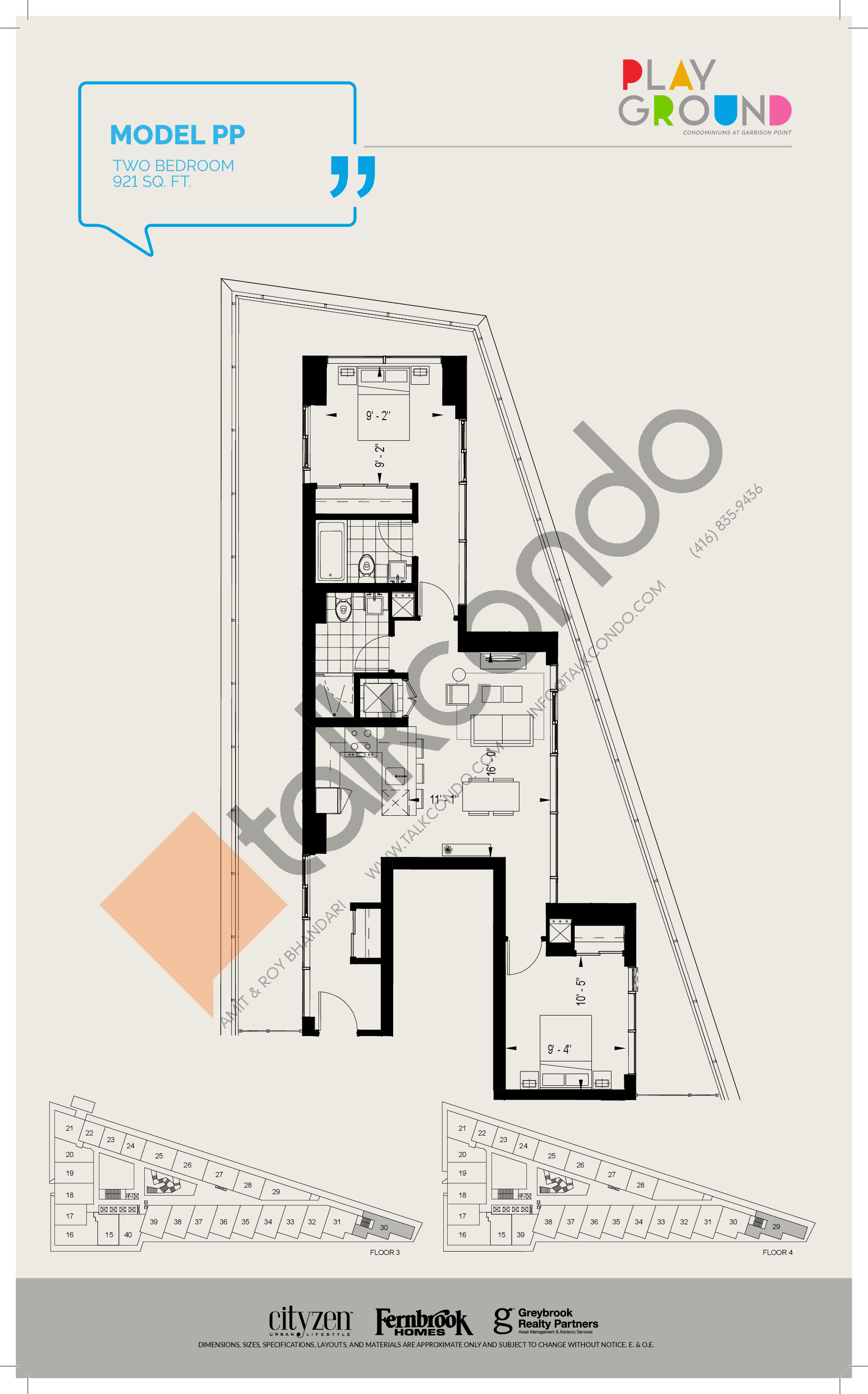 Model PP Floor Plan at Playground Condos at Garrison Point - 921 sq.ft