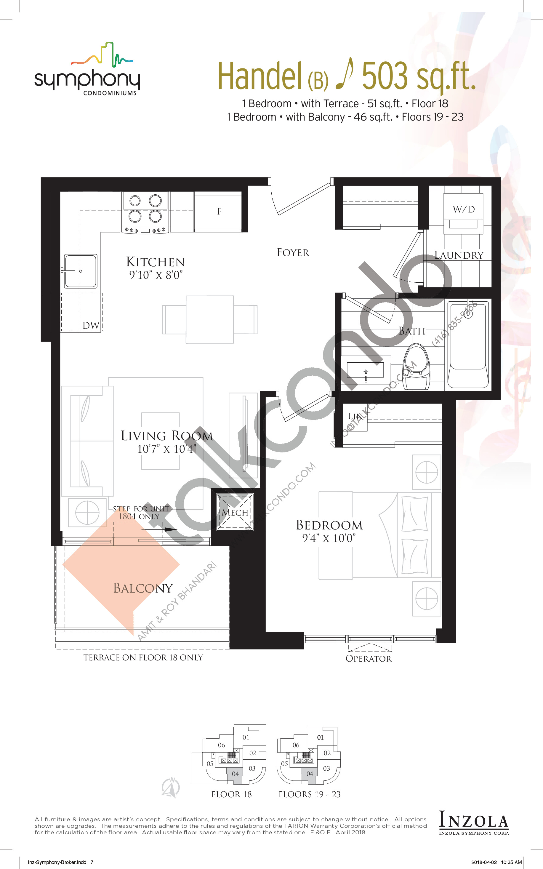 Handel Floor Plan at Symphony Condos - 503 sq.ft