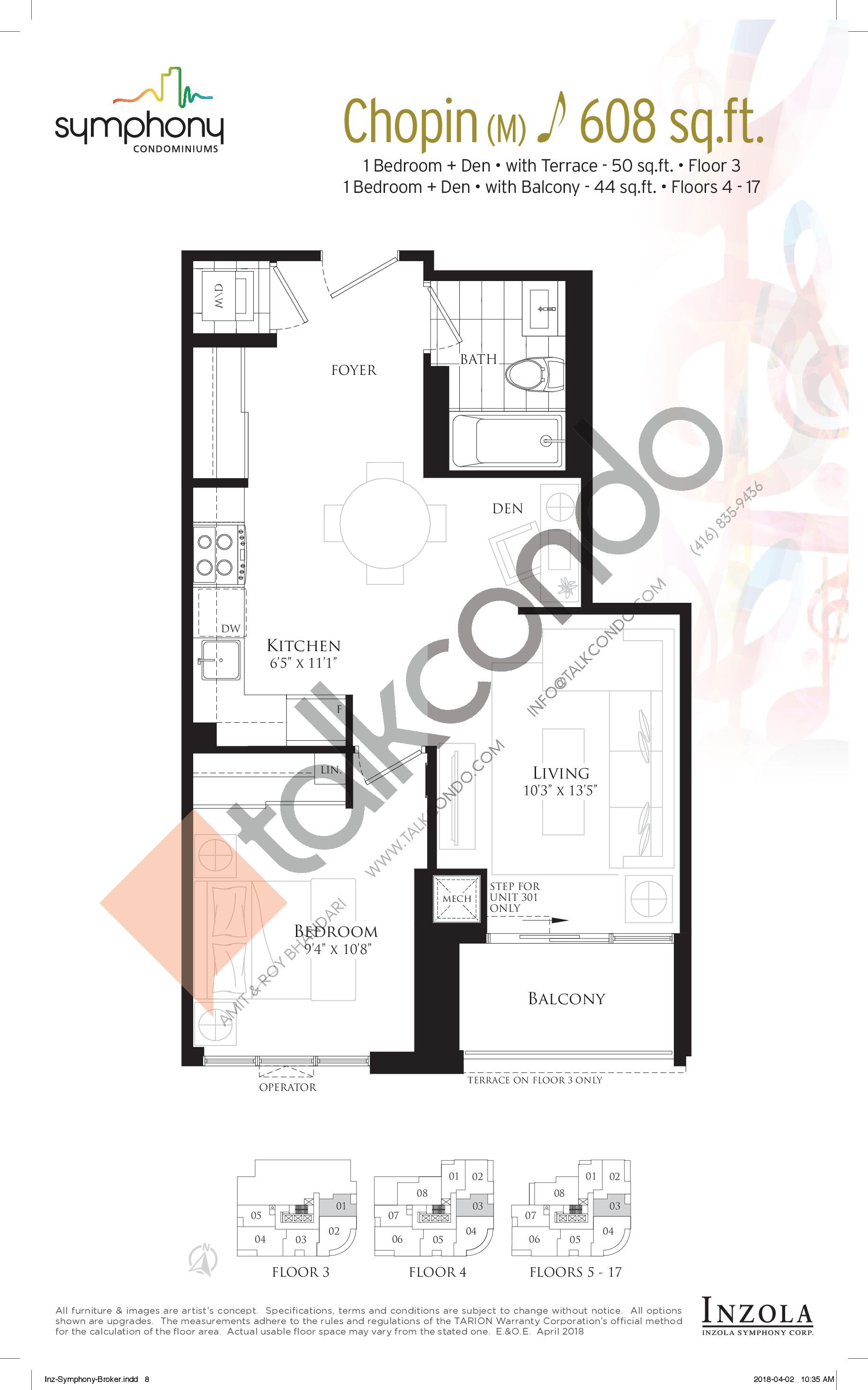Chopin Floor Plan at Symphony Condos - 608 sq.ft