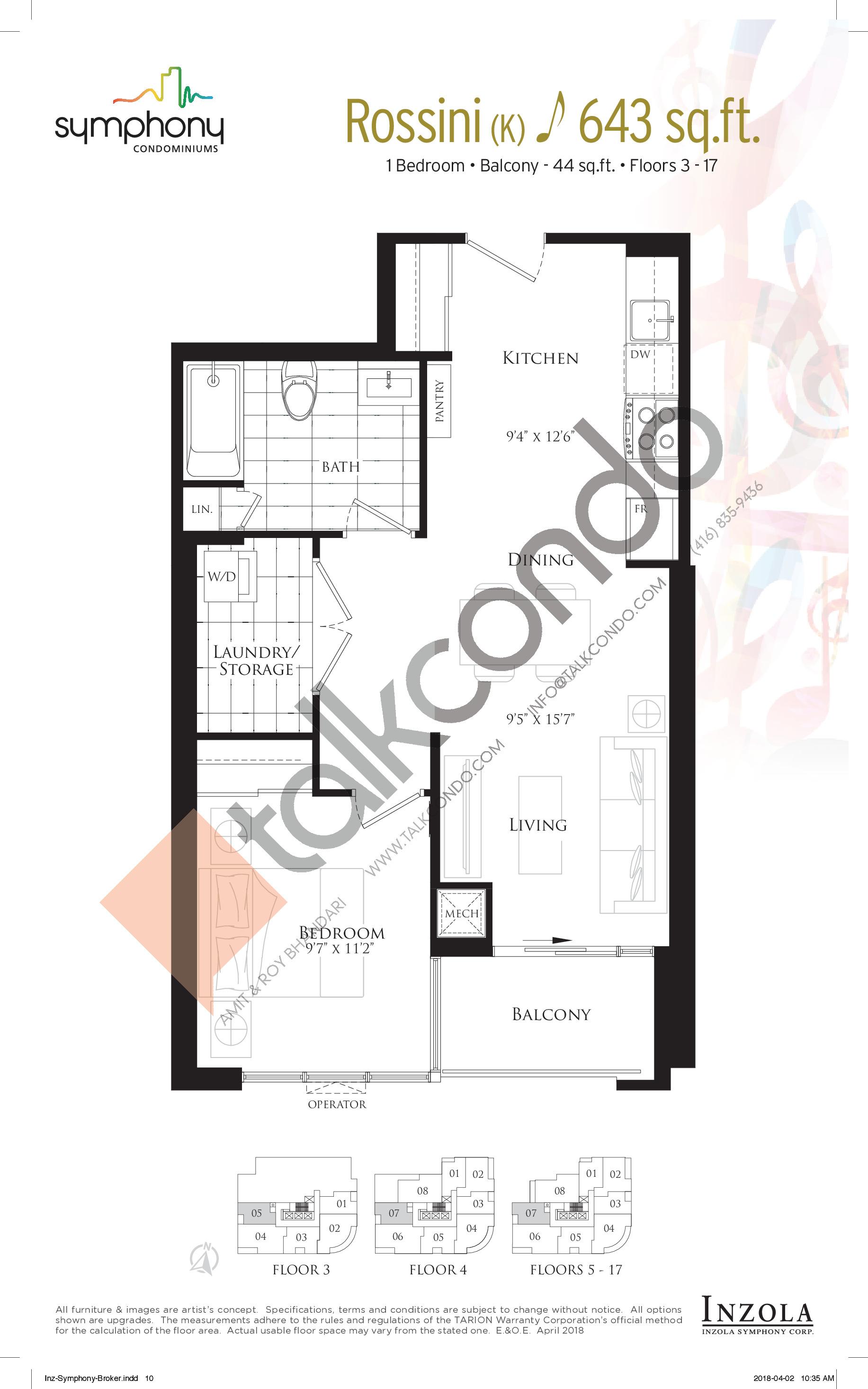 Rossini Floor Plan at Symphony Condos - 643 sq.ft
