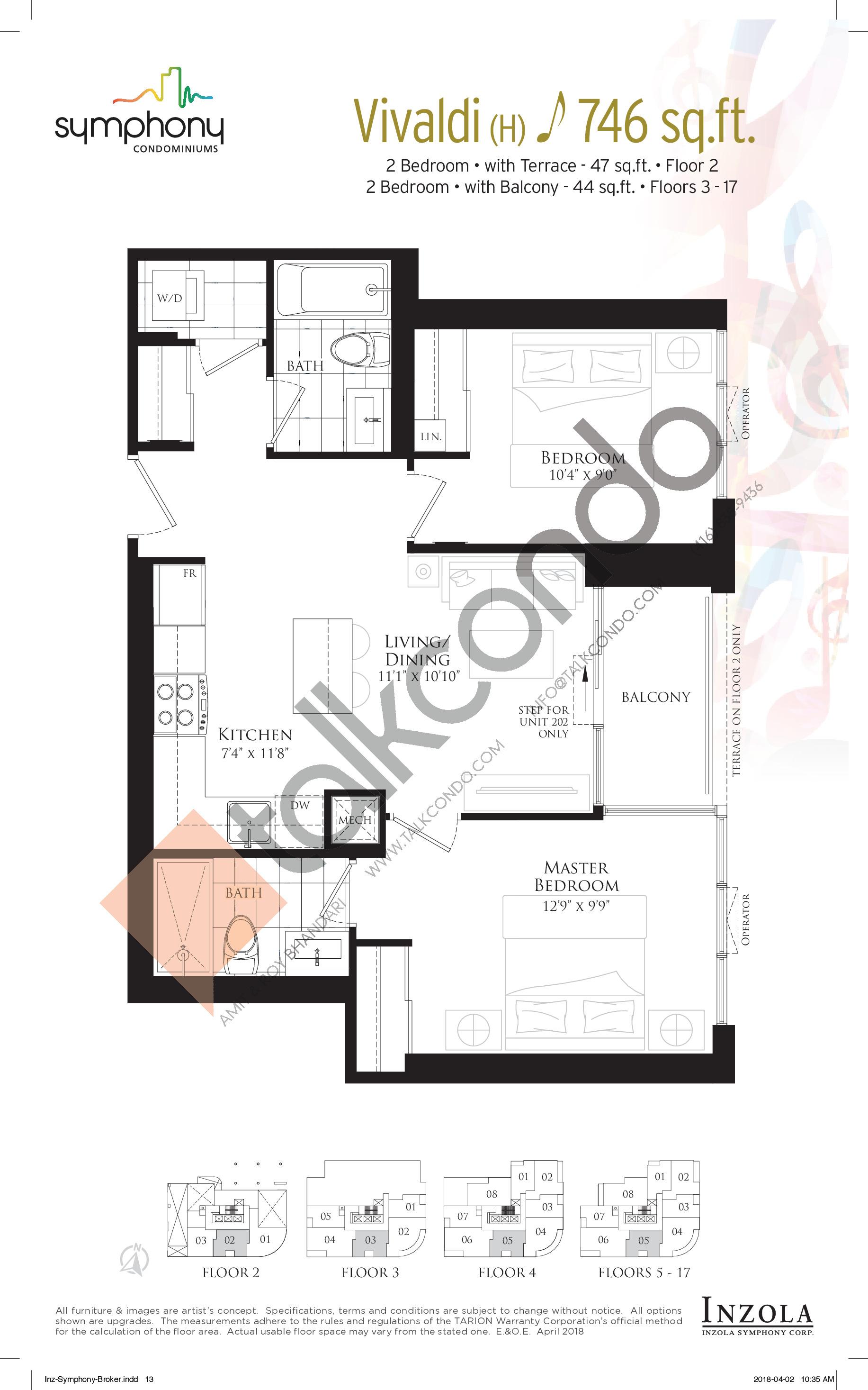 Vivaldi Floor Plan at Symphony Condos - 746 sq.ft