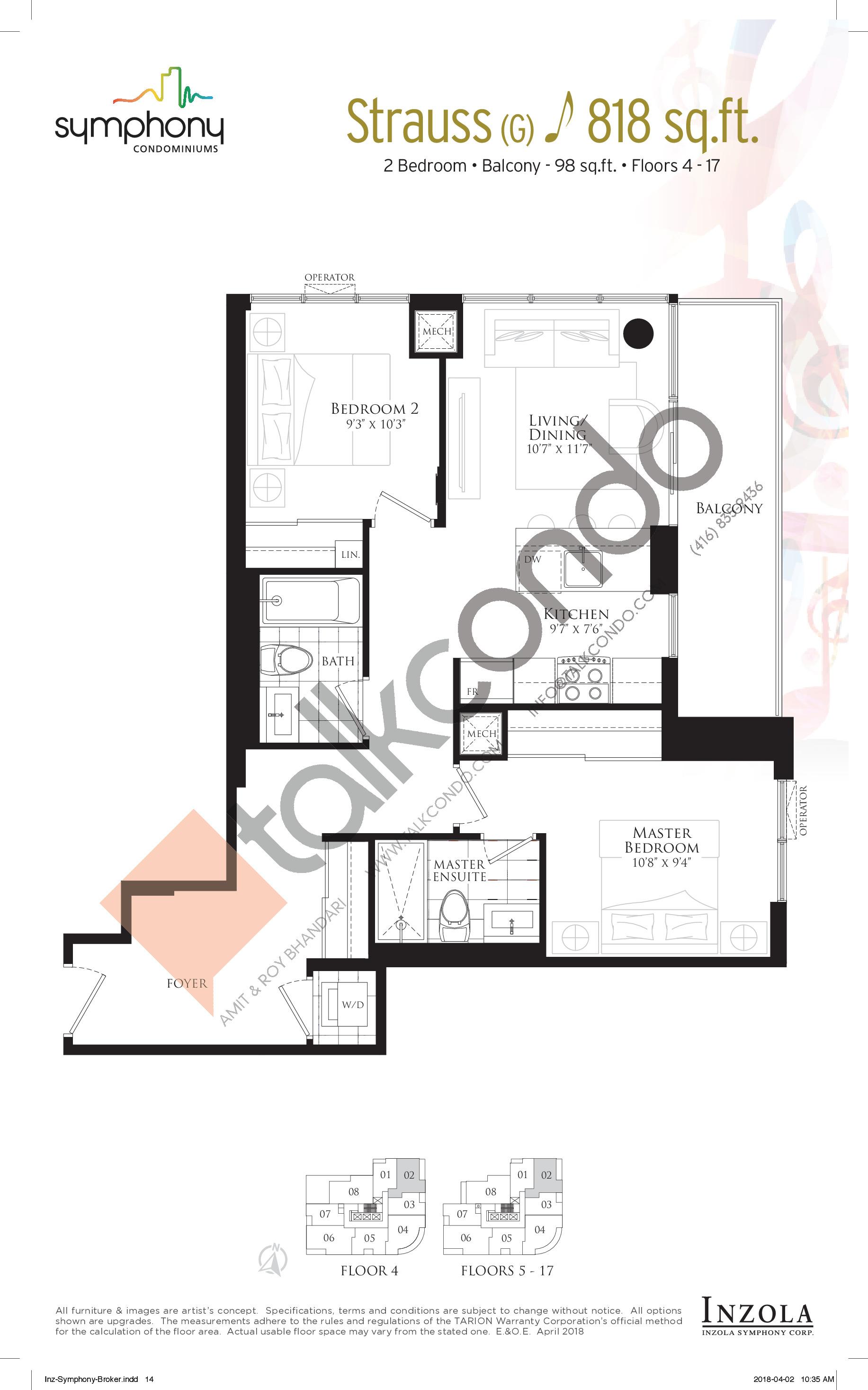 Strauss Floor Plan at Symphony Condos - 818 sq.ft