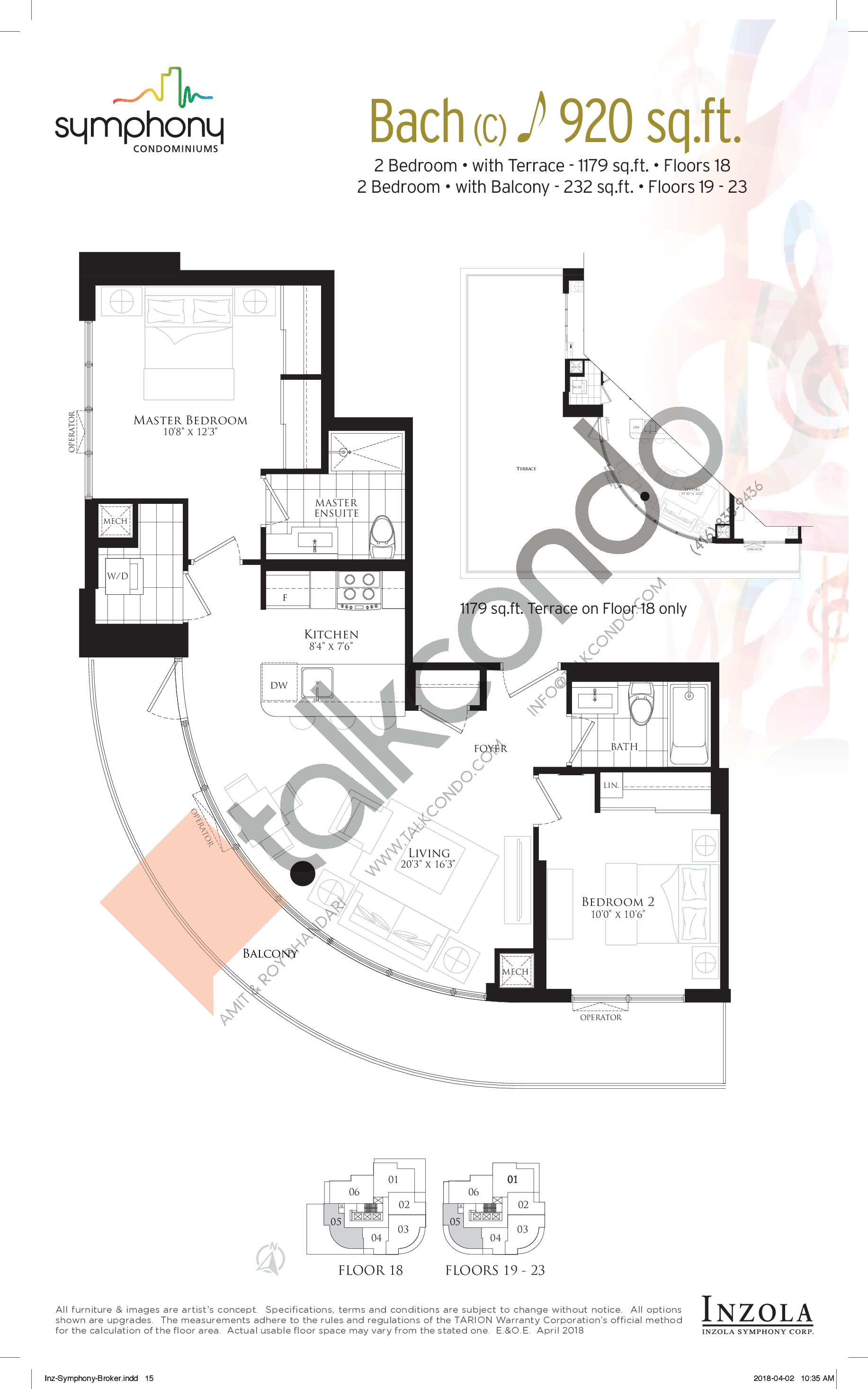 Bach Floor Plan at Symphony Condos - 920 sq.ft