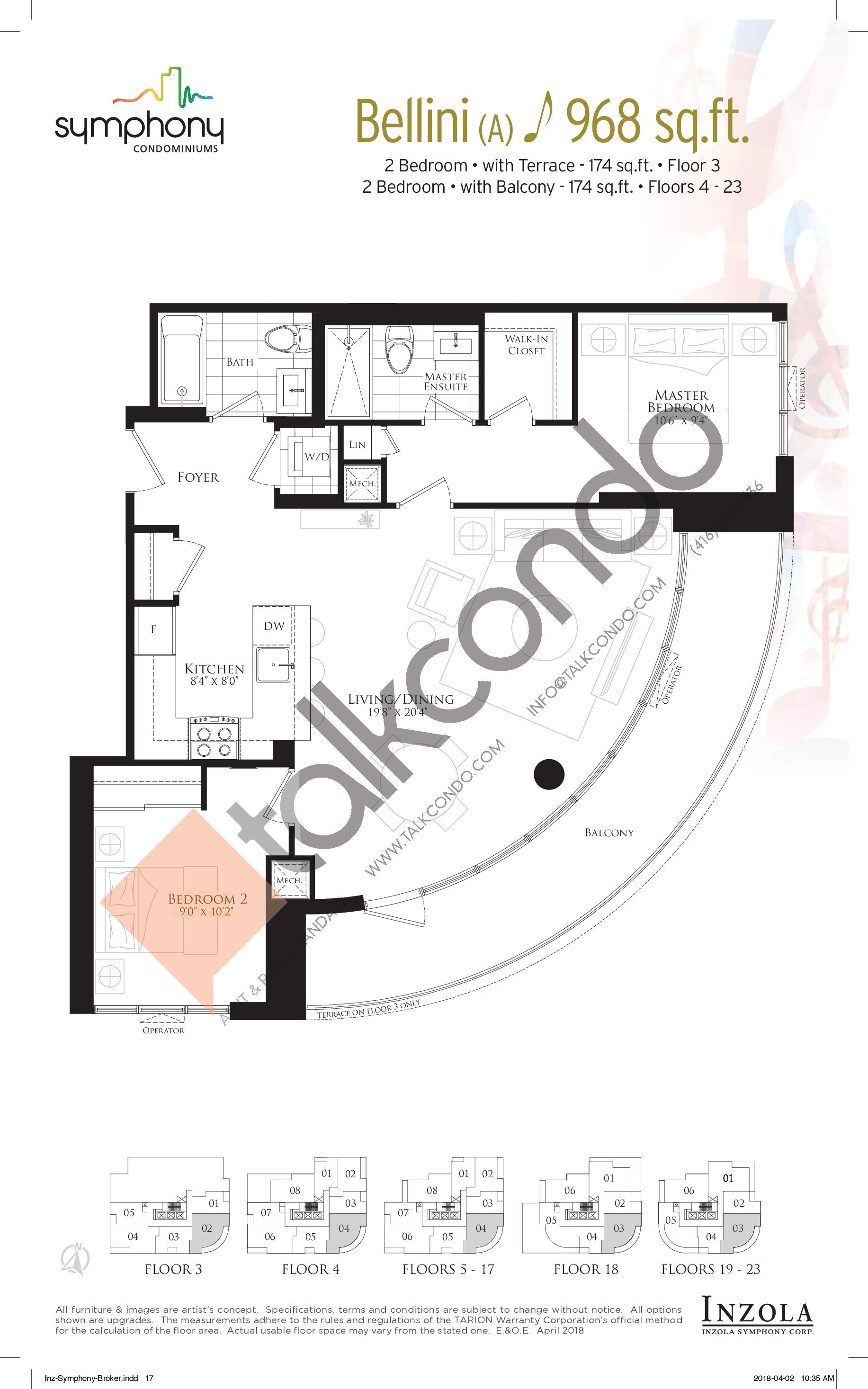 Bellini Floor Plan at Symphony Condos - 968 sq.ft
