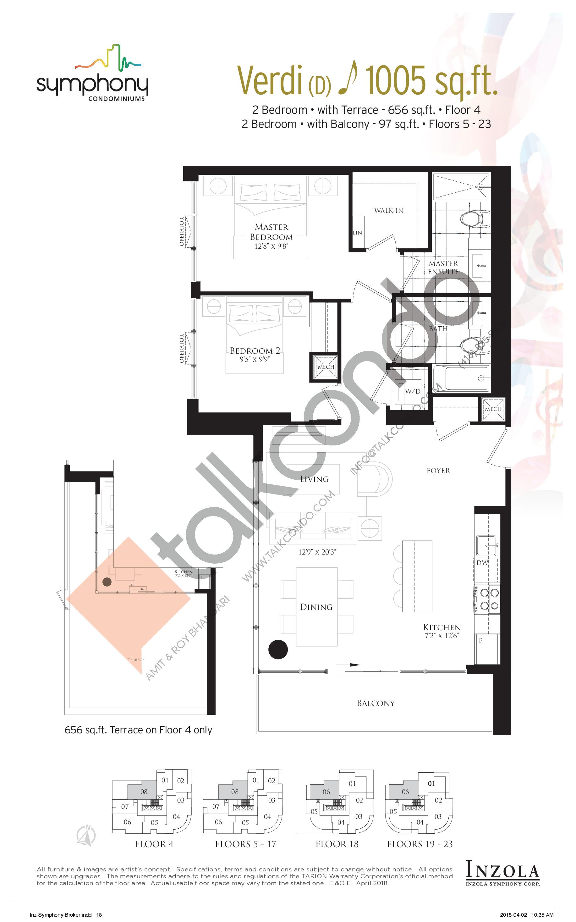 Verdi Floor Plan at Symphony Condos - 1005 sq.ft