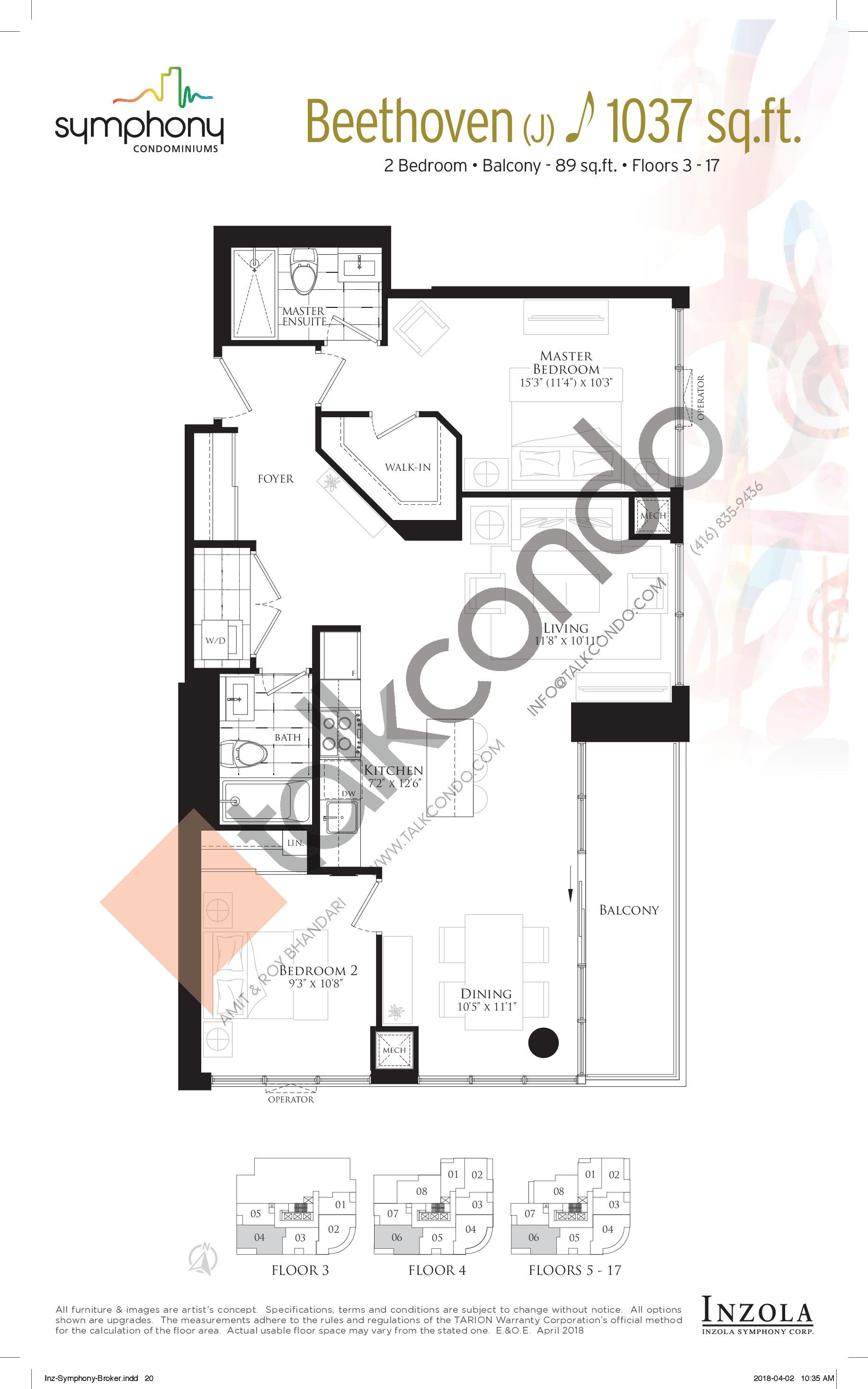 Beethoven Floor Plan at Symphony Condos - 1037 sq.ft