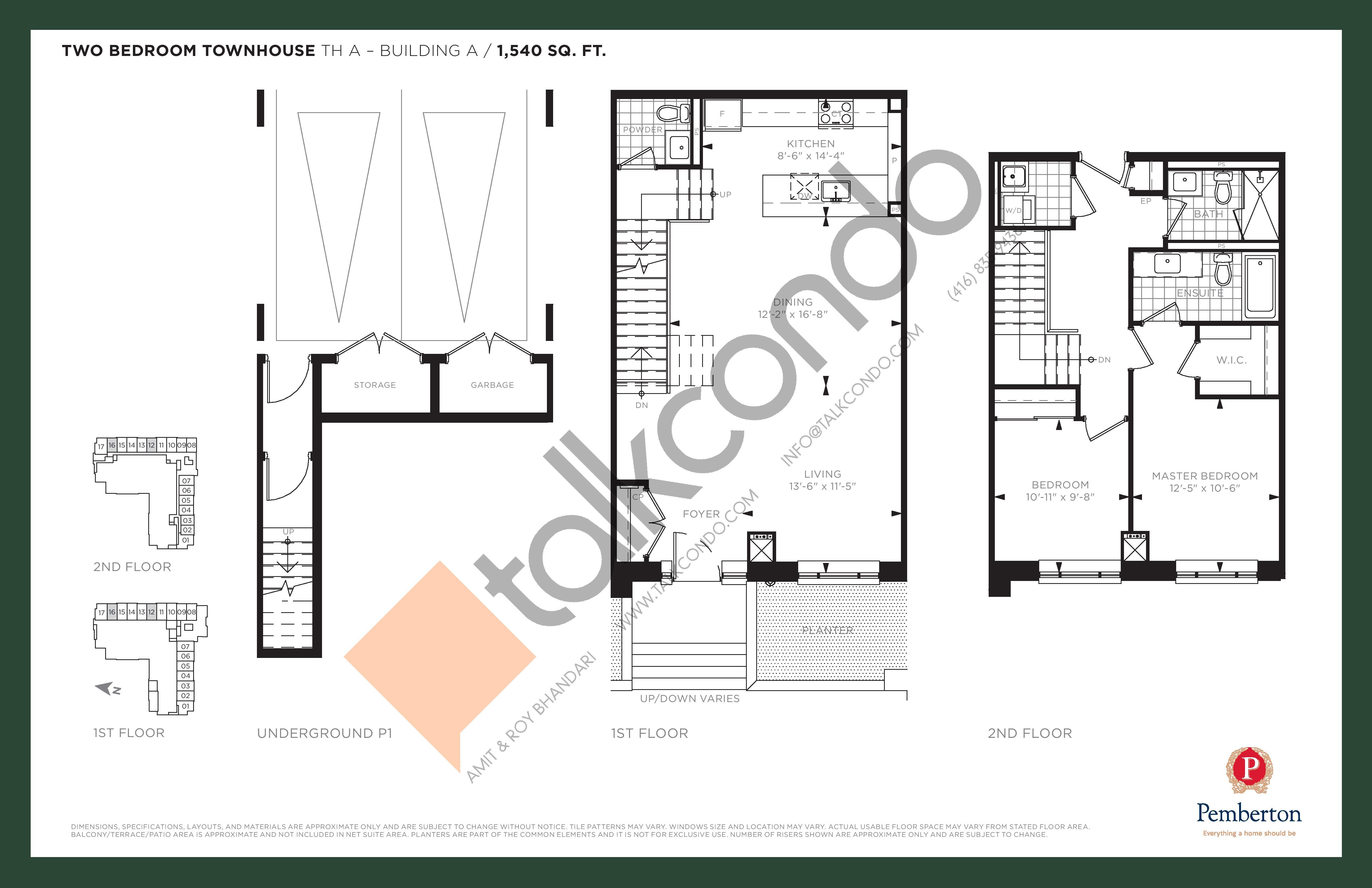 TH A - Building A Floor Plan at 9th & Main Condos + Towns - 1540 sq.ft