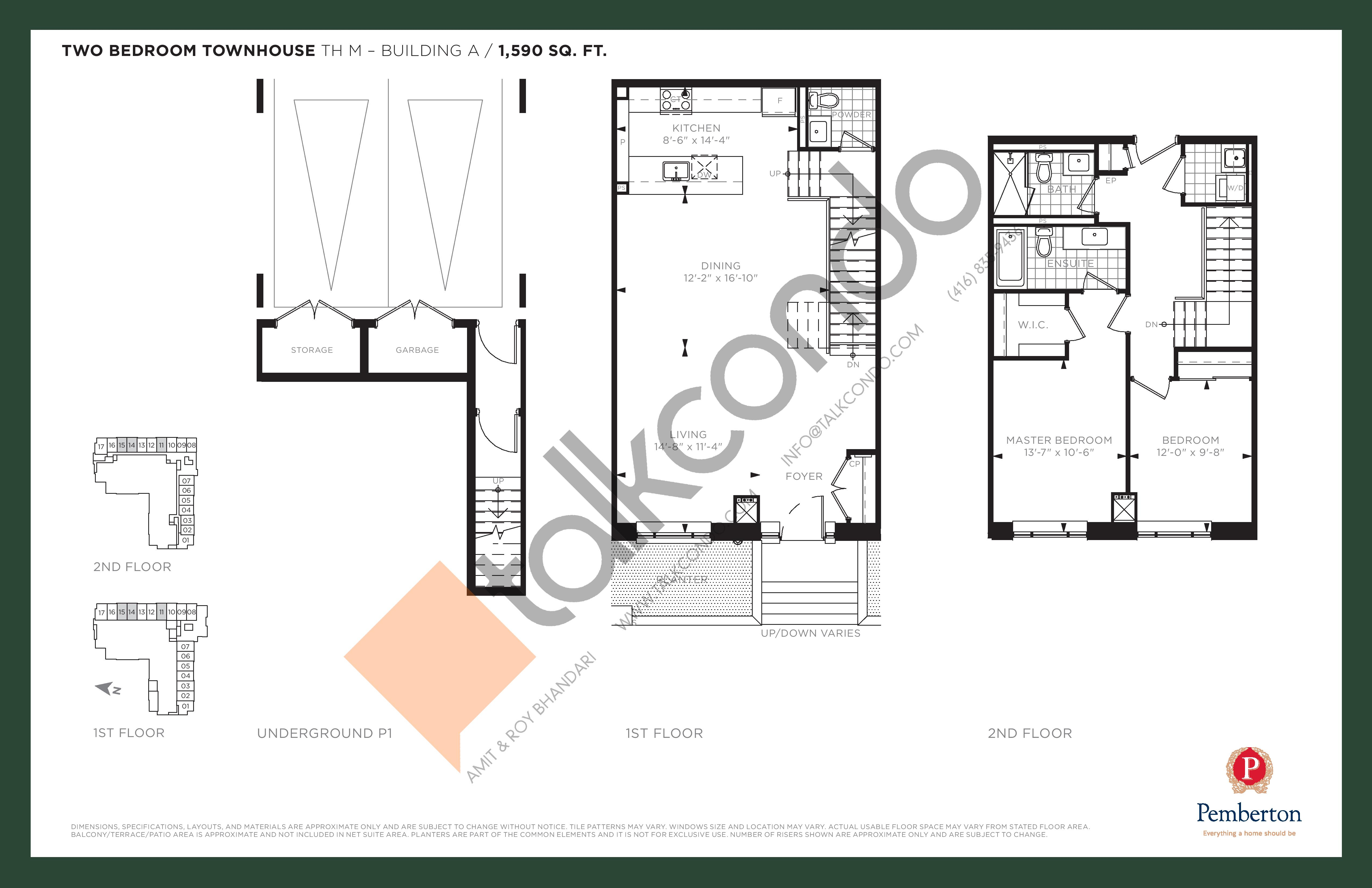 TH M - Building A Floor Plan at 9th & Main Condos + Towns - 1590 sq.ft