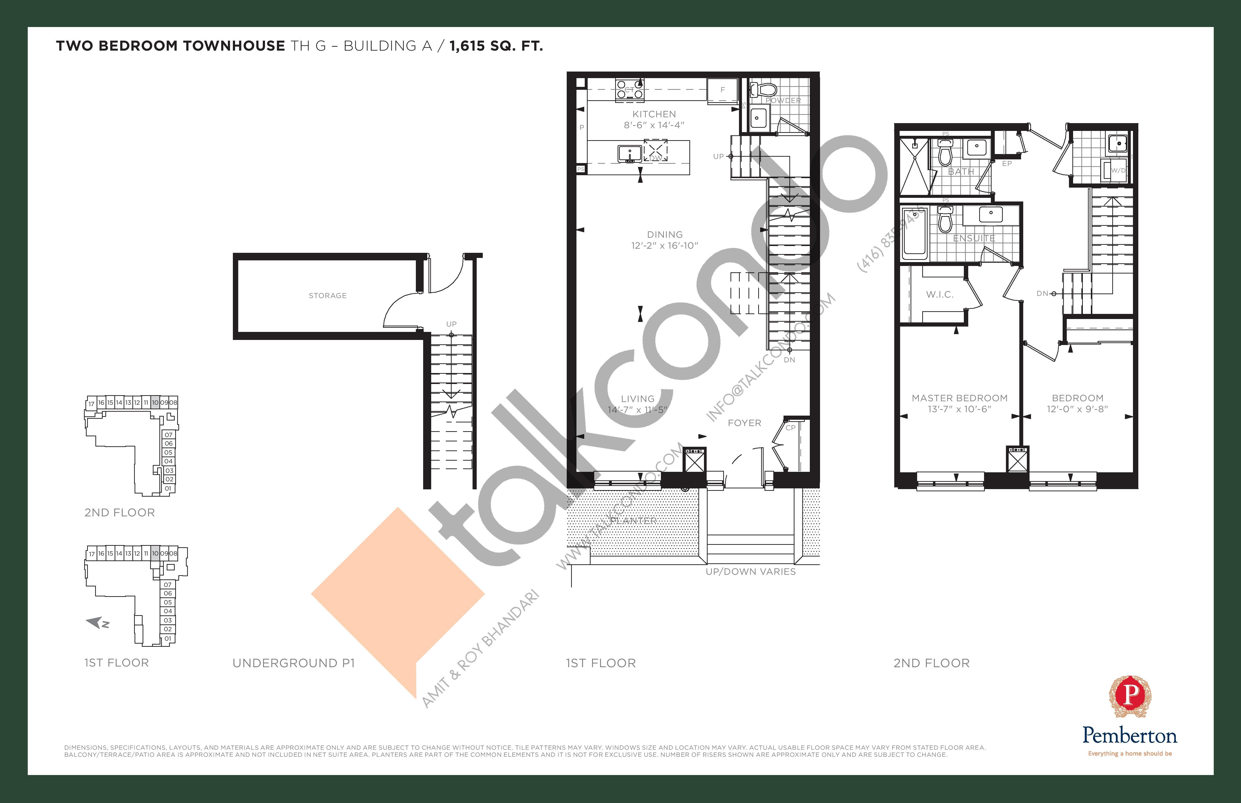 TH G - Building A Floor Plan at 9th & Main Condos + Towns - 1615 sq.ft